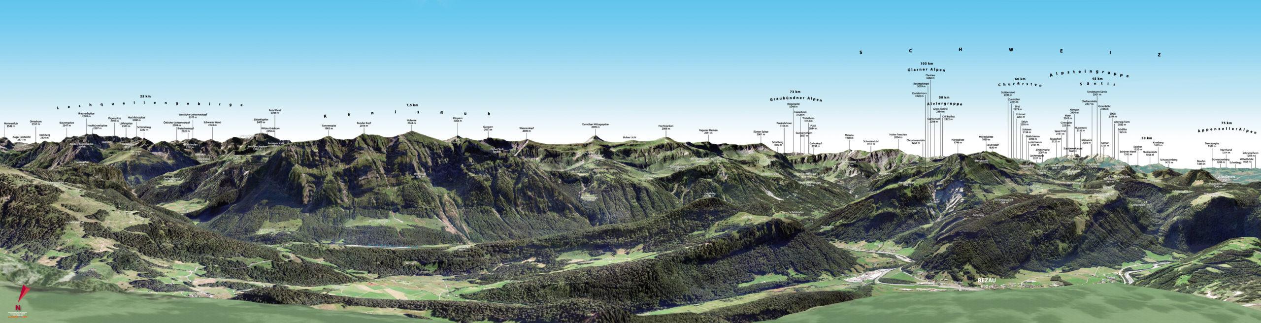 3D Gipfelpanorama Bergstation Baumgarten Sued Bezau