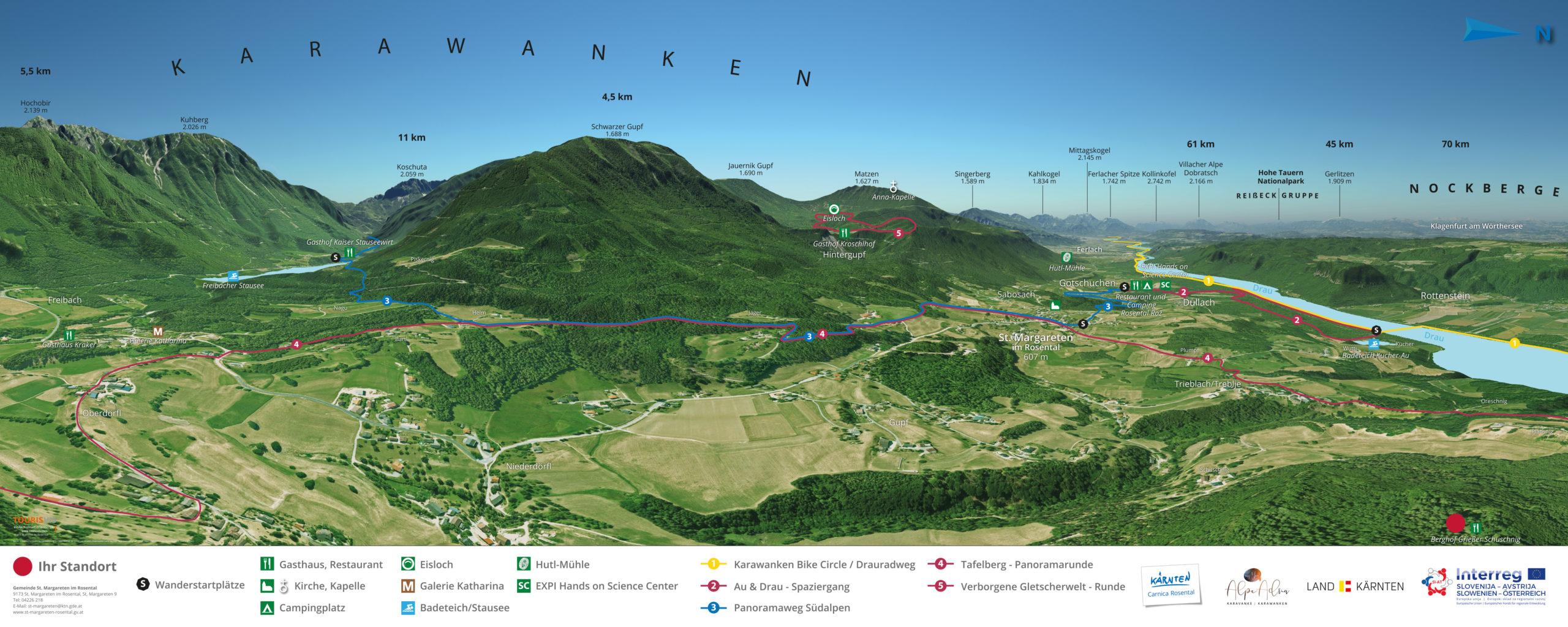 3D Gipfelpanorama wandern Carnica Sankt Margarethen Rosental Kaernten