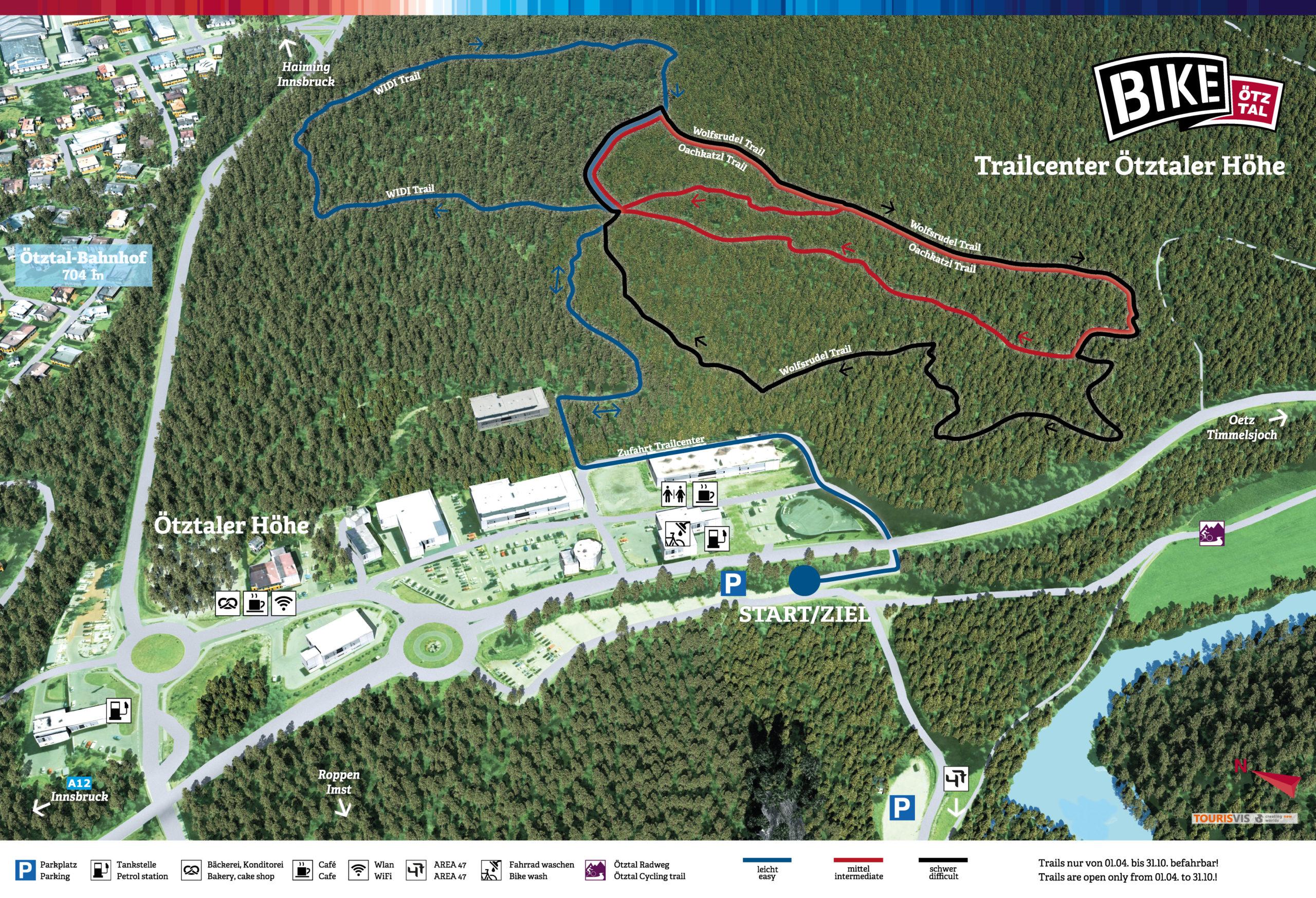 3D Panoramakarte Bike Oetztaler Hoehe Trailcenter