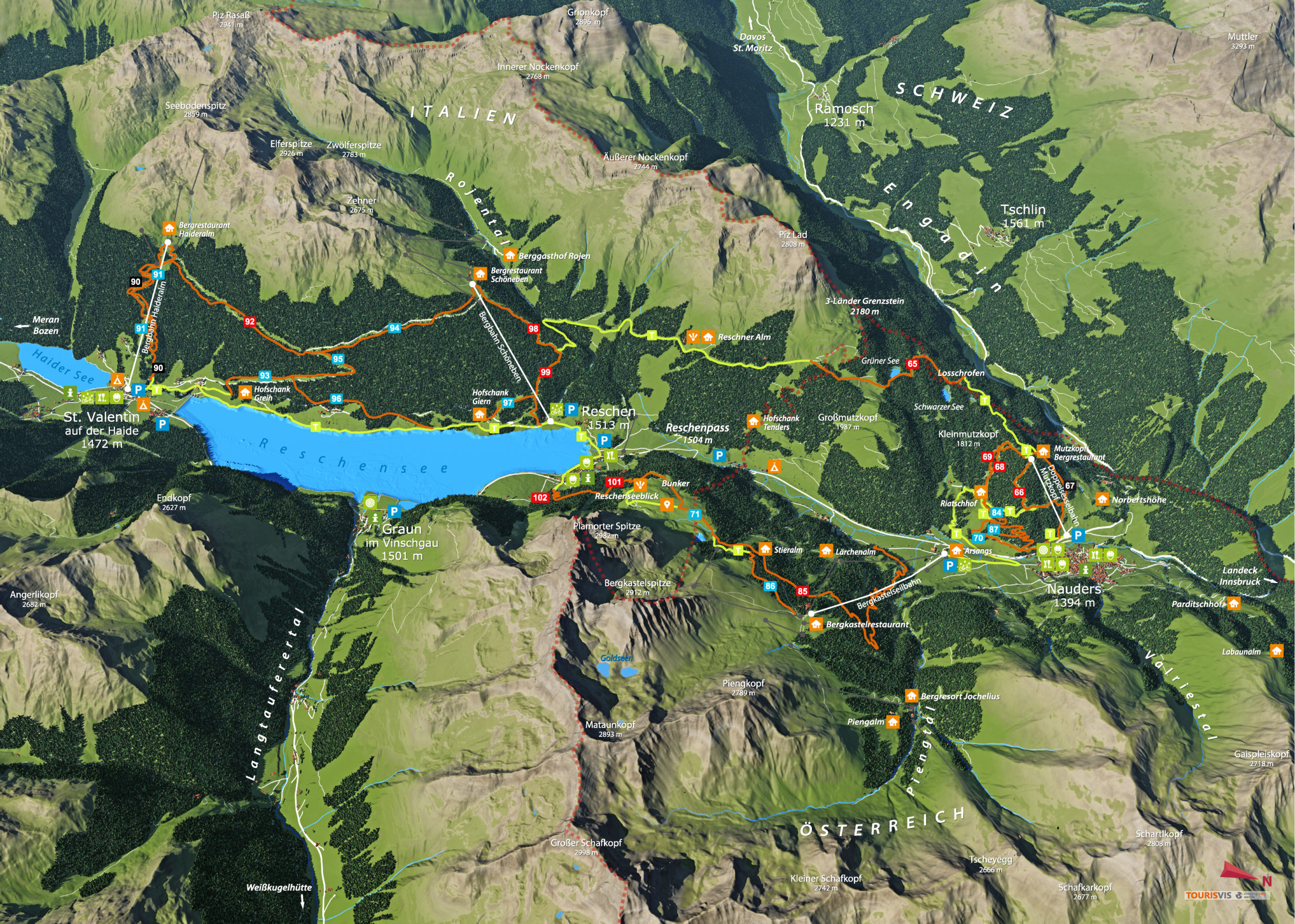 3D Panoramakarte Biken Endurotrail Ferienregion Reschenpass