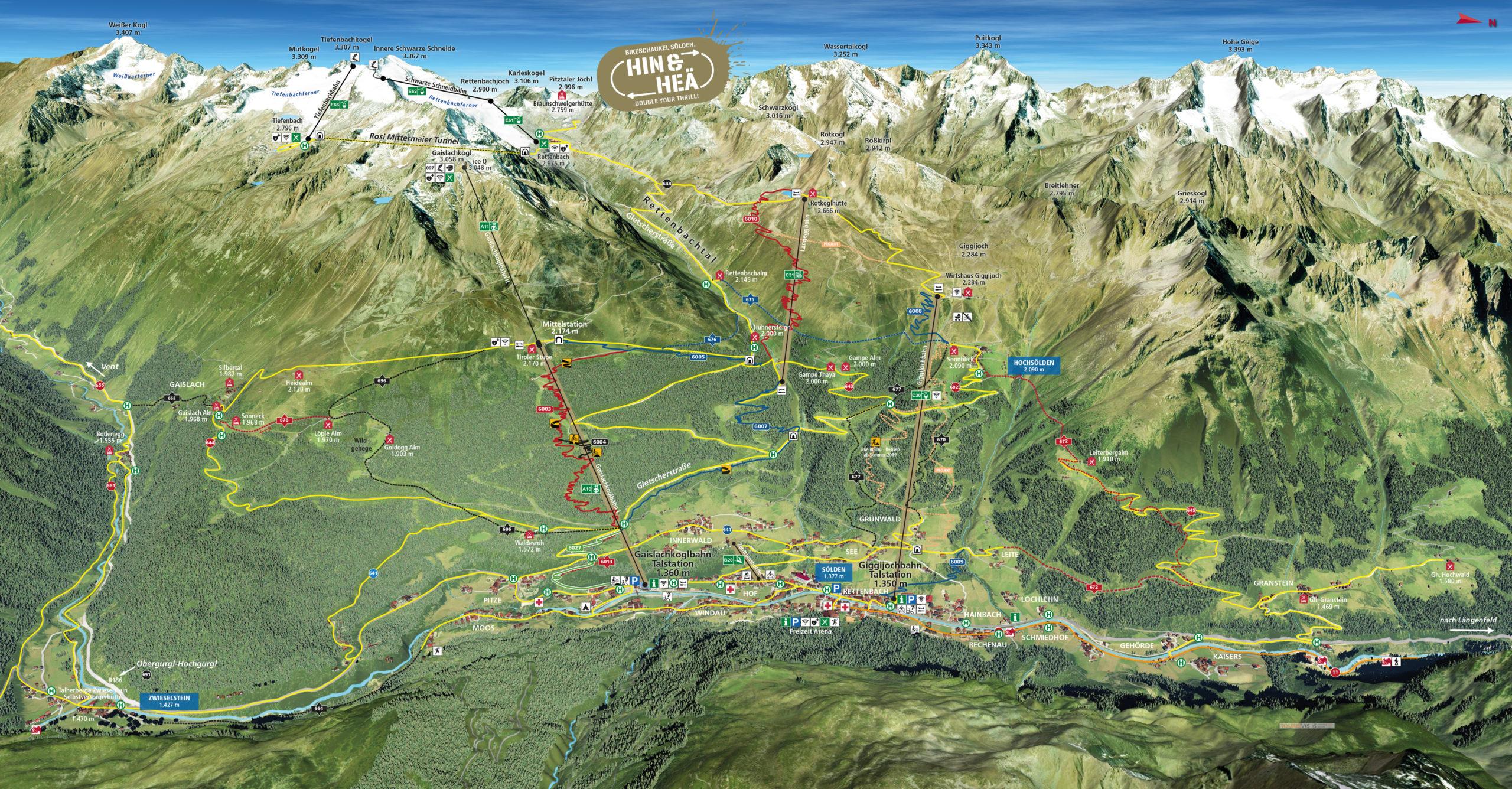 3D Panoramakarte Biken Trailmap Almzeit Soelden