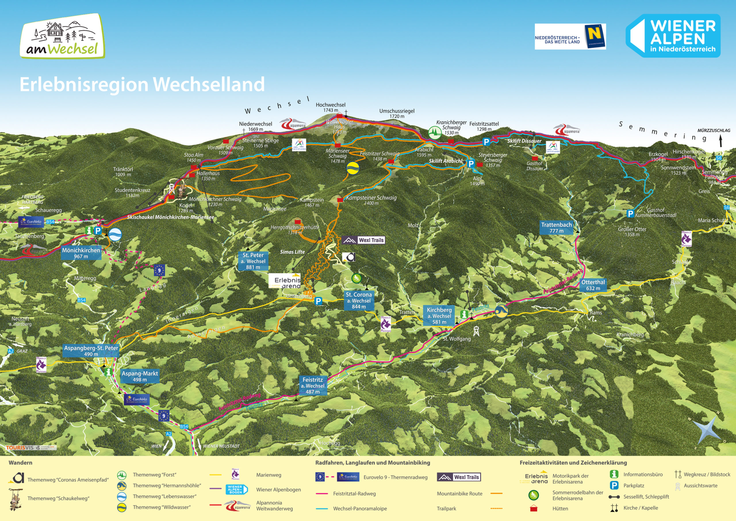 3D Panoramakarte Erlebnisregion Wechselland Wiener Alpen Niederoesterreich