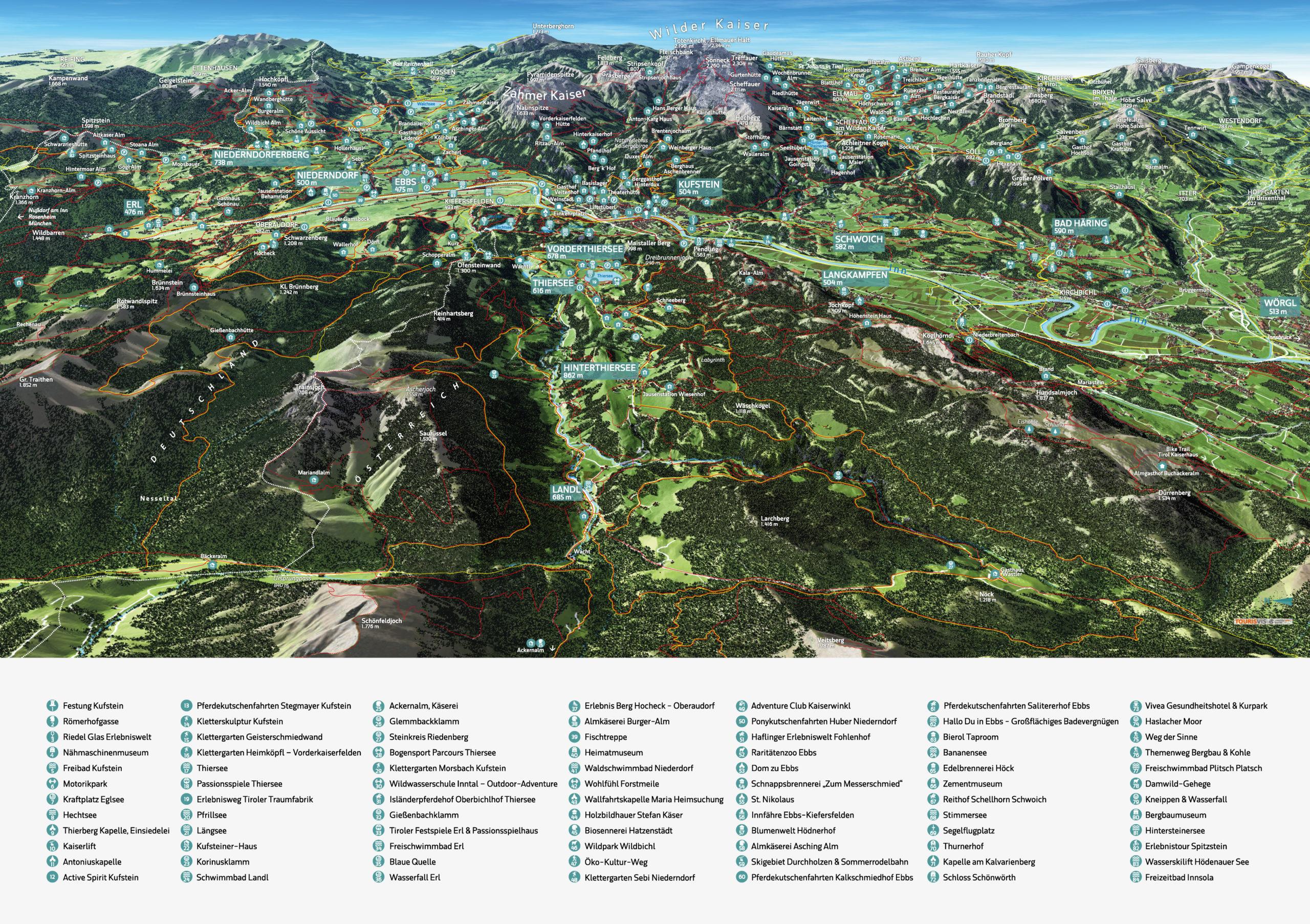 3D Panoramakarte Kufsteinerland Sommerpanorama