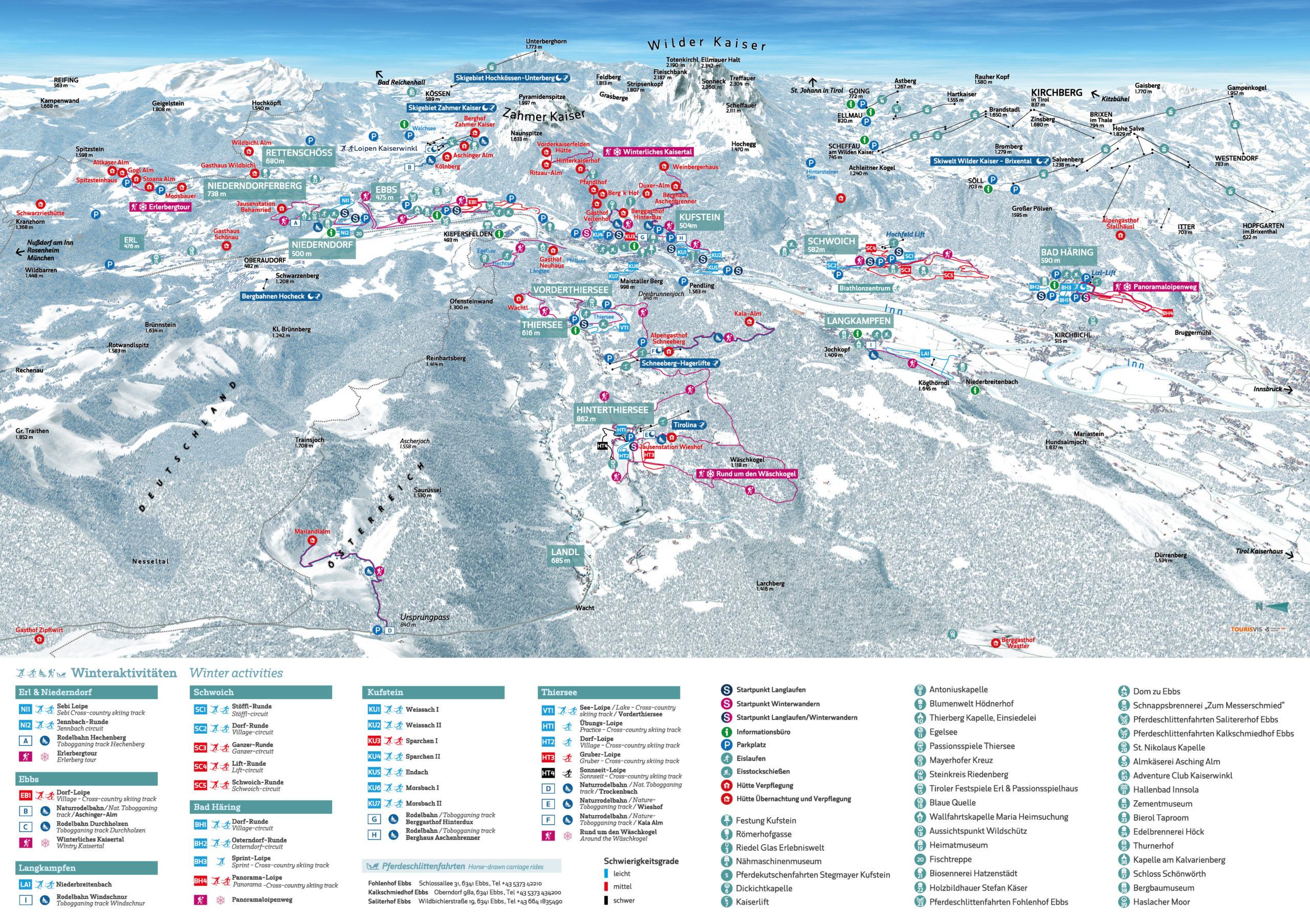 3D Panoramakarte Kufsteinerland Winterpanorama Winterwandern