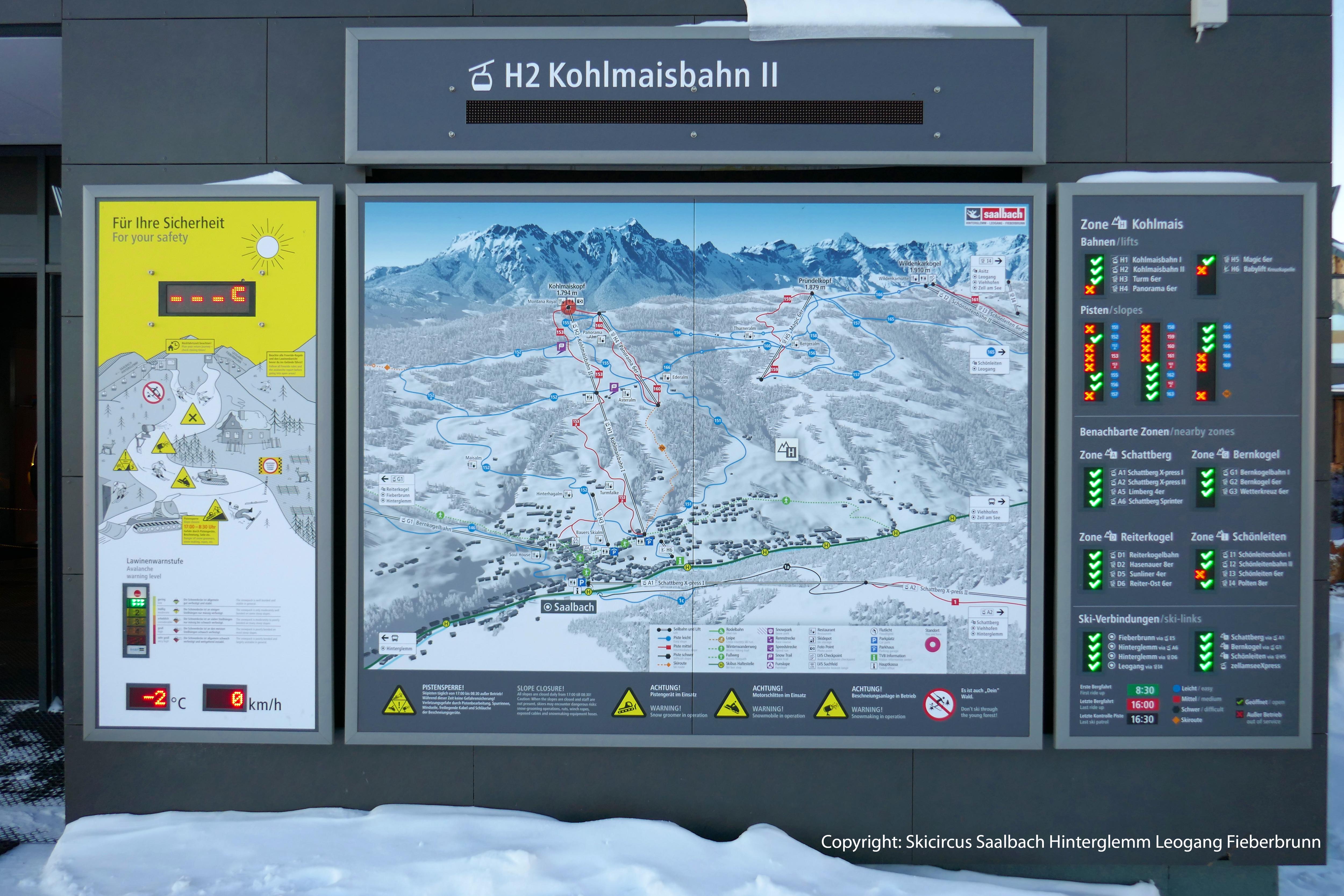 3D Panoramakarte Panoramatafel Skicircus Saalbach Kohlmaisbahn