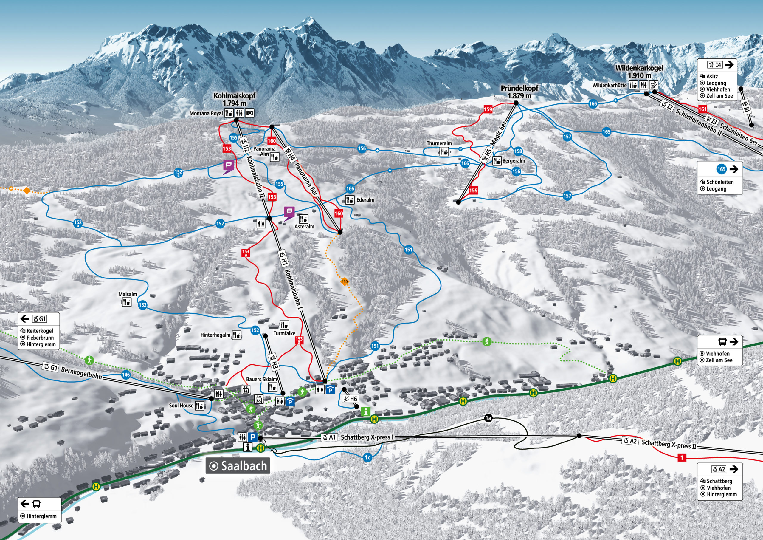 3D Pistenplan und Panoramakarte Skicircus Saalbach Hinterglemm Leogang Fieberbrunn Zone H Kohlmais