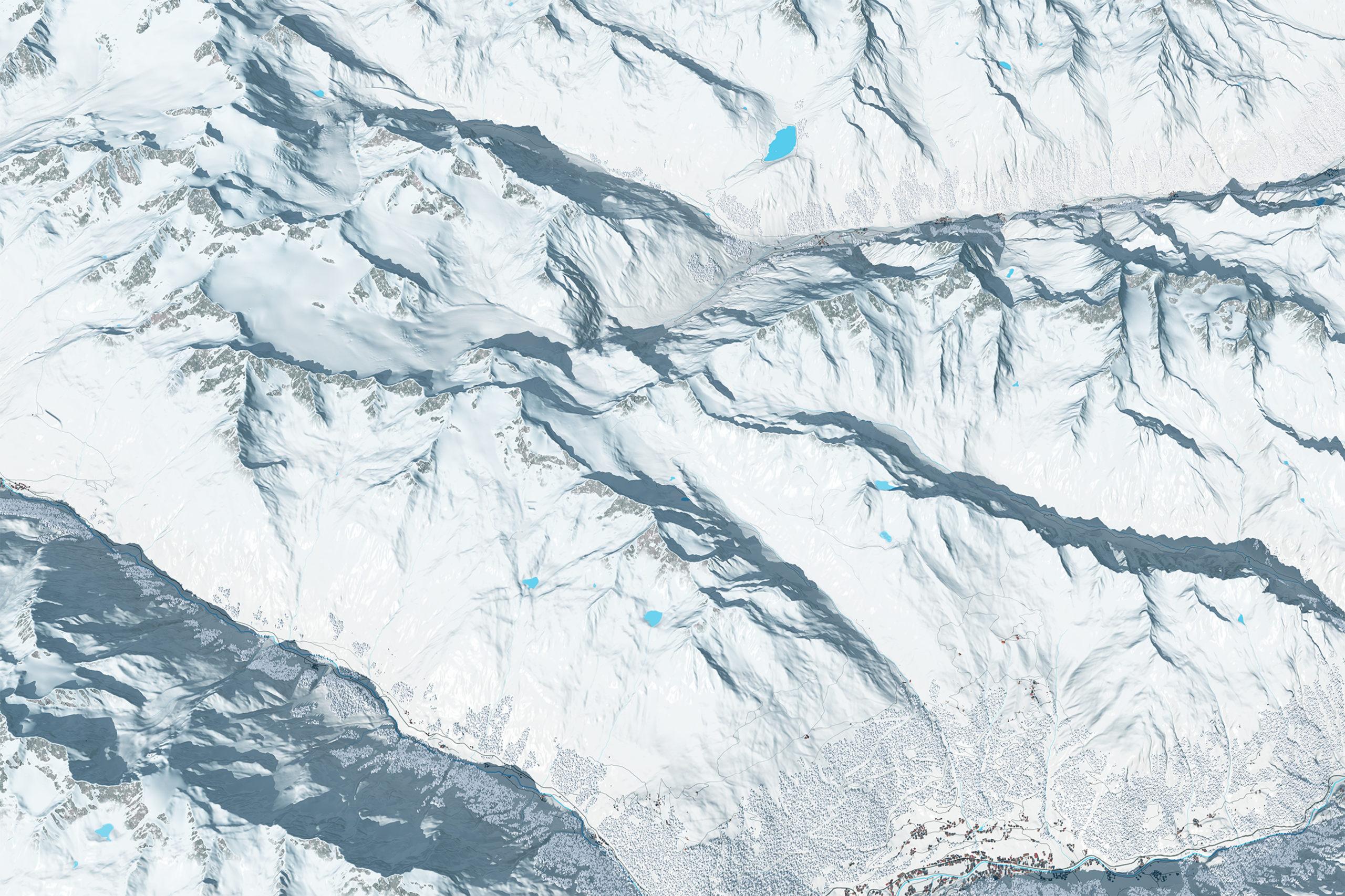 3D Panoramakarte Skigebietszusammenschluss Pitztal Oetztal