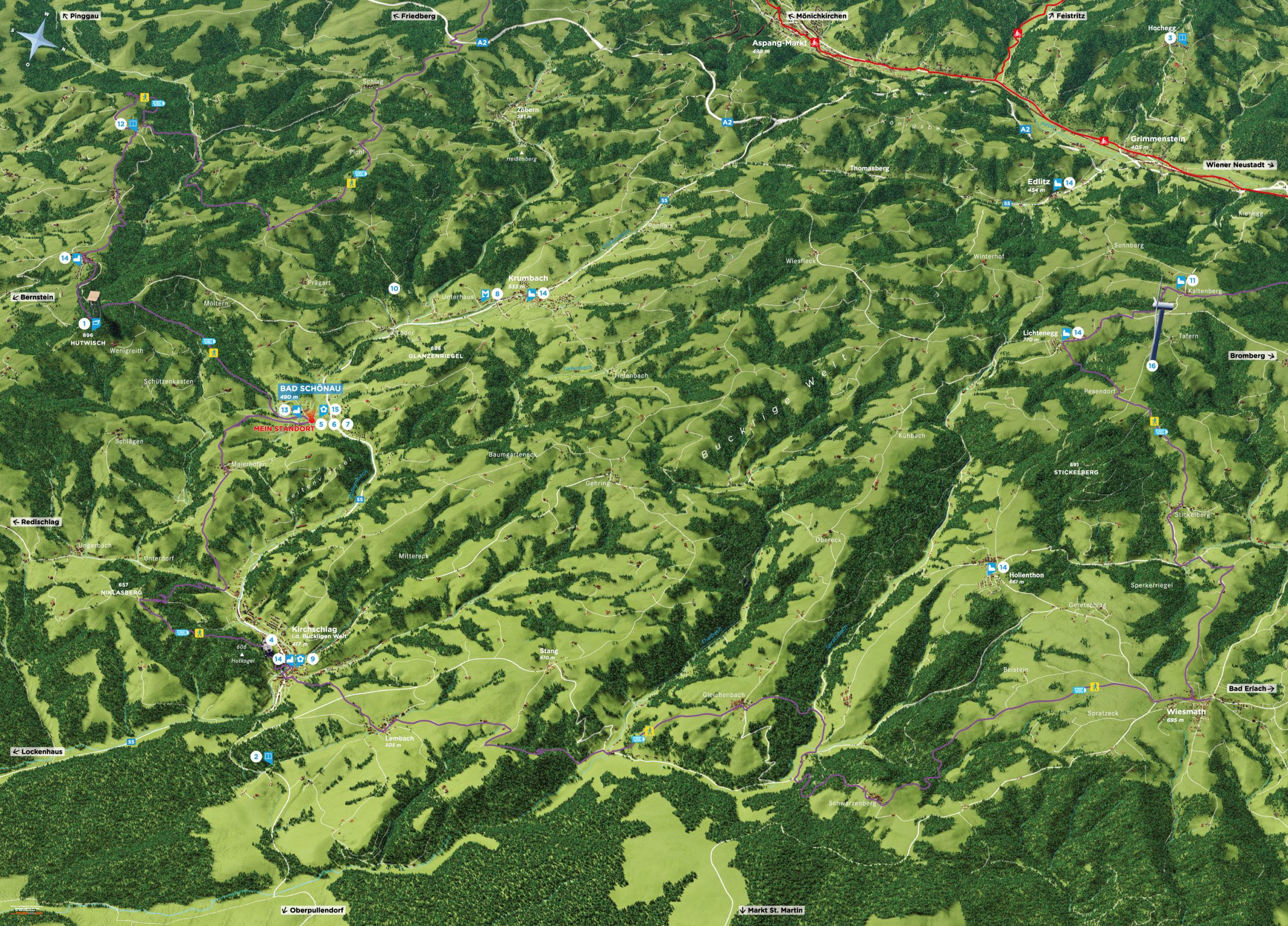 3D Panoramakarte Sommer Gemeinde Bad Schoenau