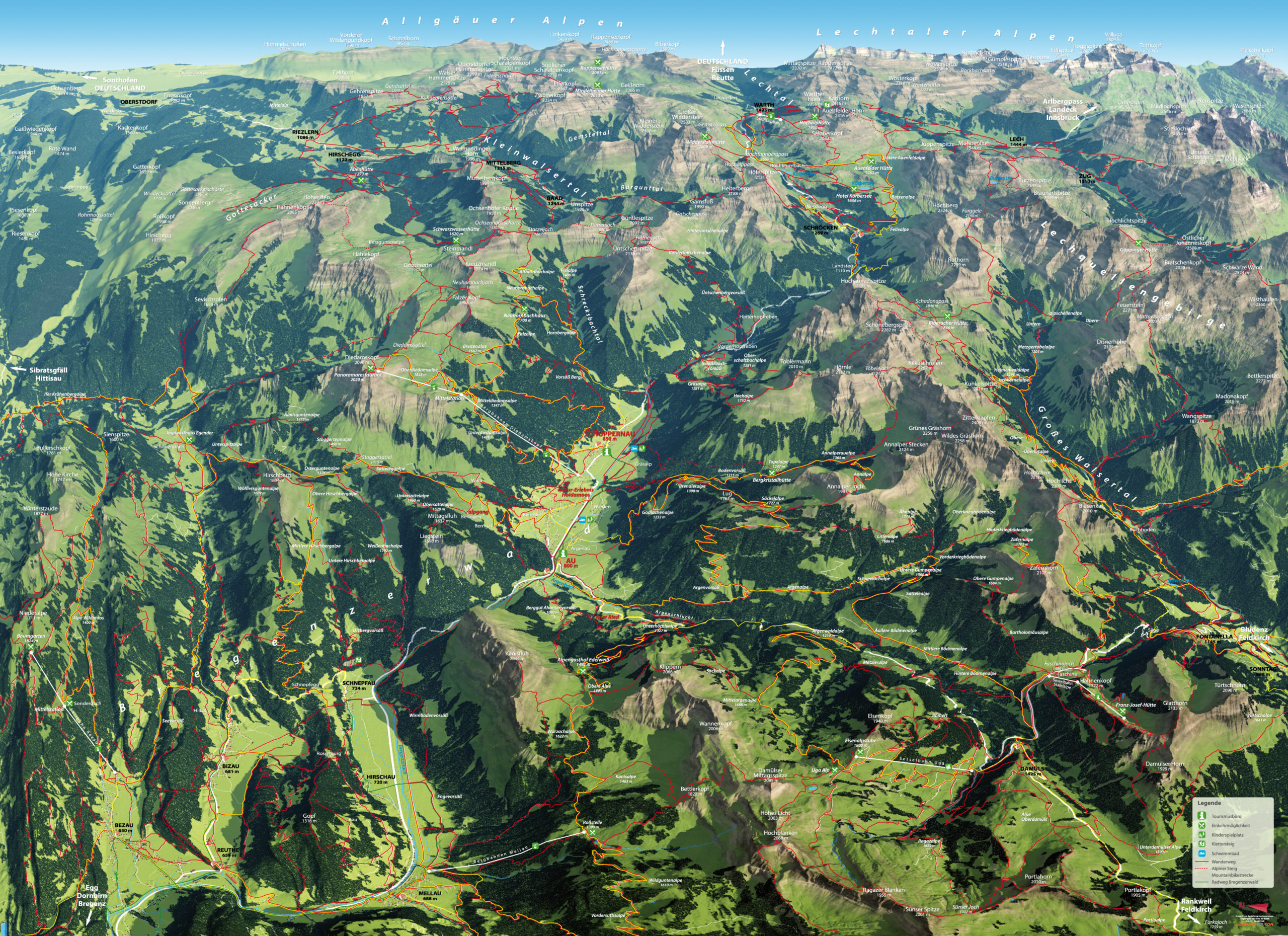 3D Panoramakarte Wandern Biken Au-Schoppernau