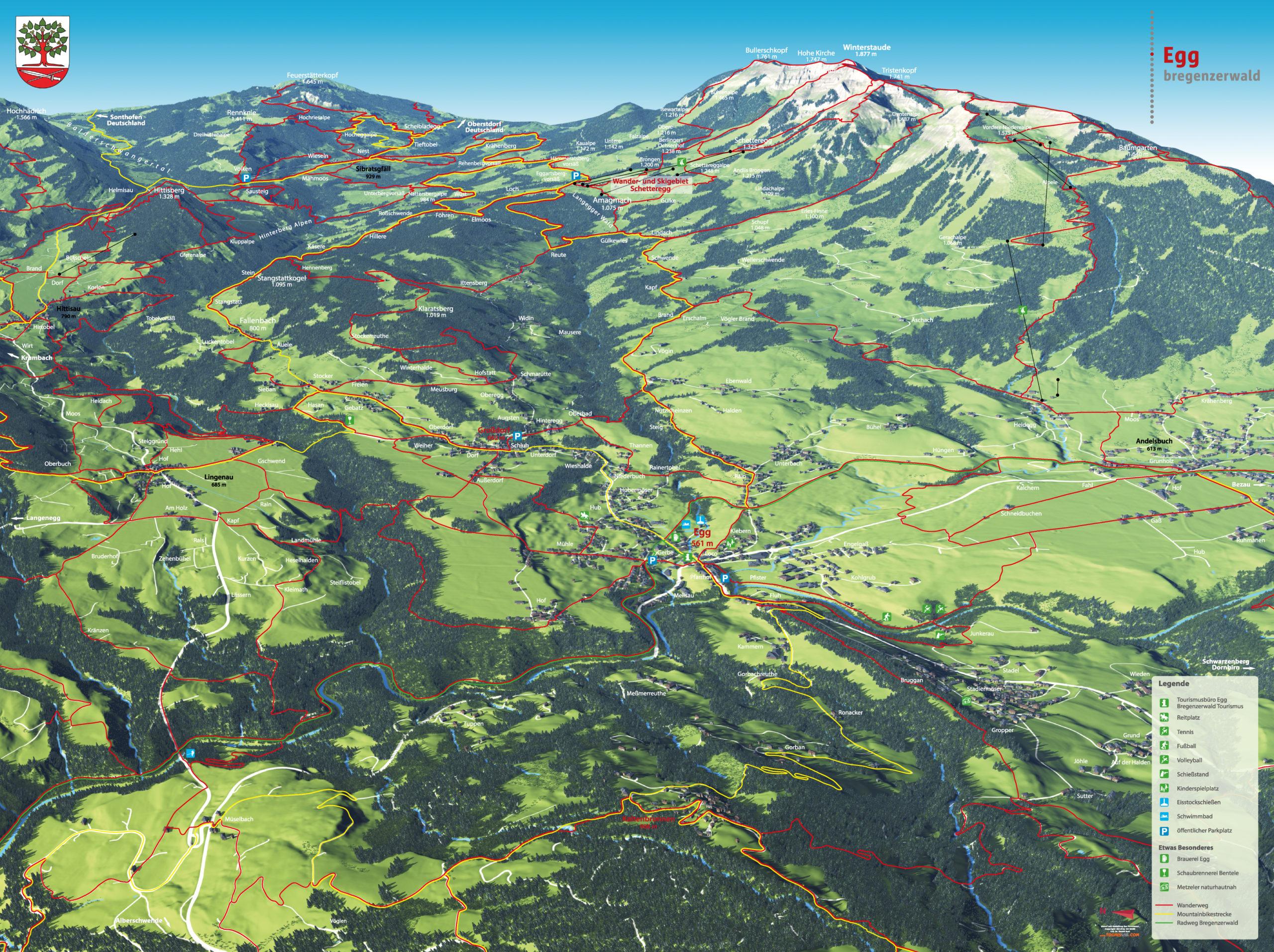 3D Panoramakarte Wandern Biken Egg Bregenzerwald