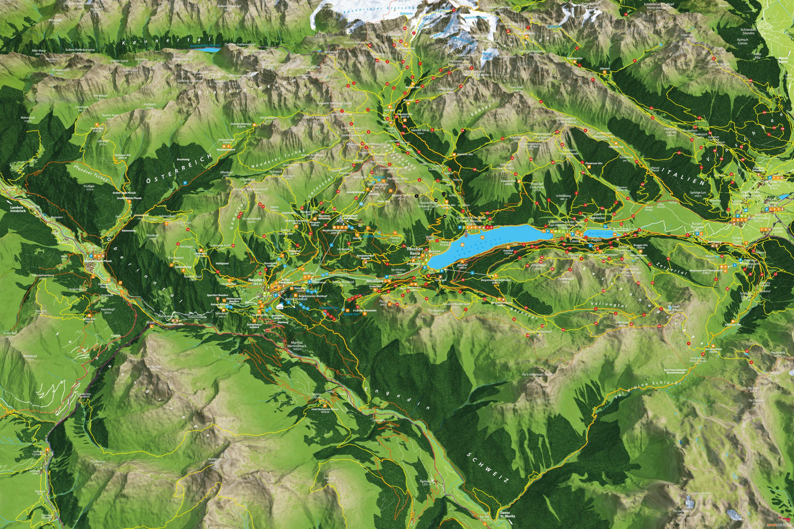 3D Panoramakarte Wandern Ferienregion Reschenpass