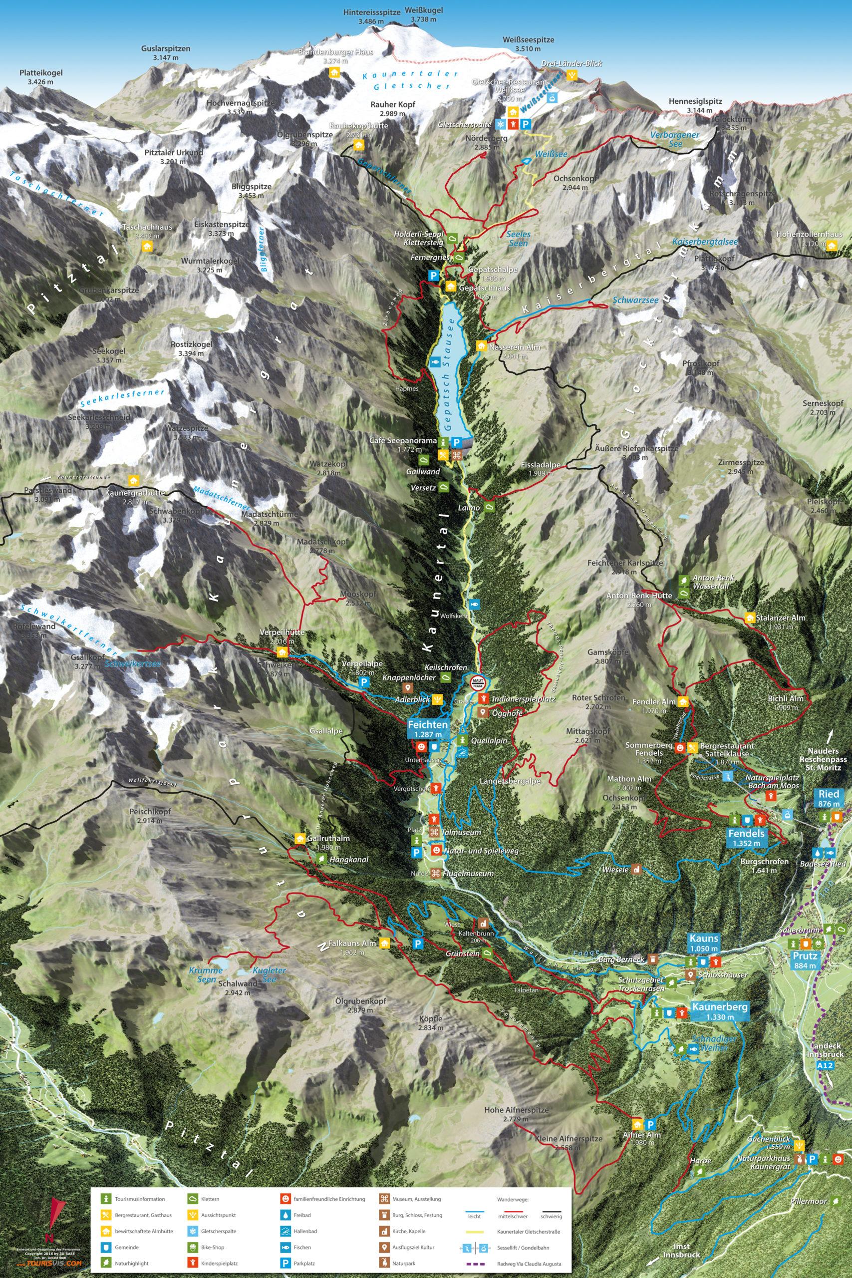 3D Panoramakarte Wandern Kaunertal Tiroler Oberland