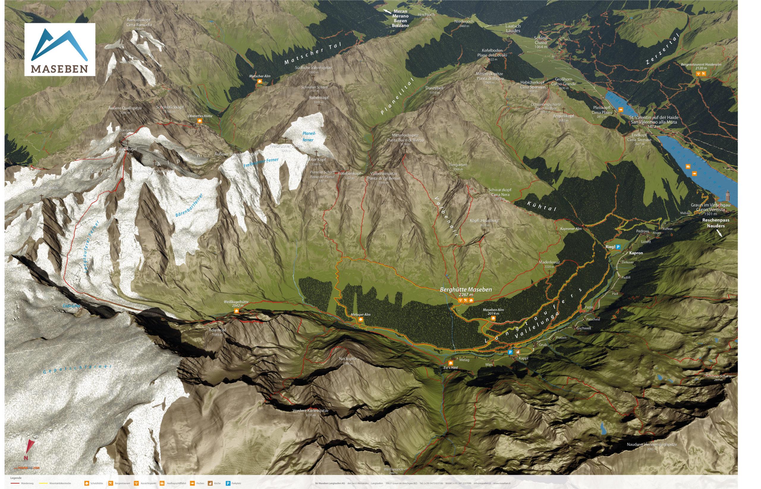 3D Panoramakarte Wandern Maseben Suedtirol