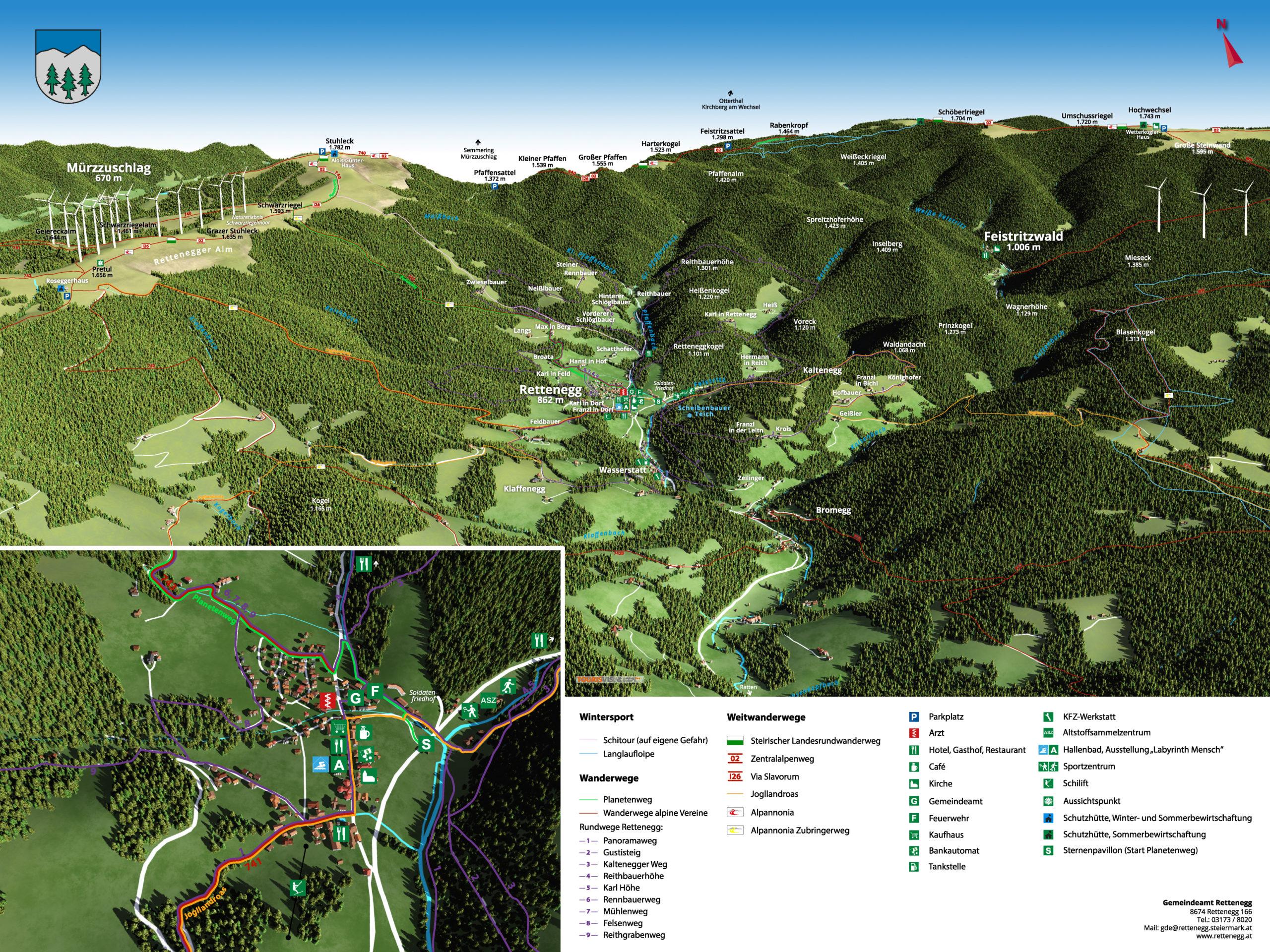 3D panoramakarte Wandern Rettenegg