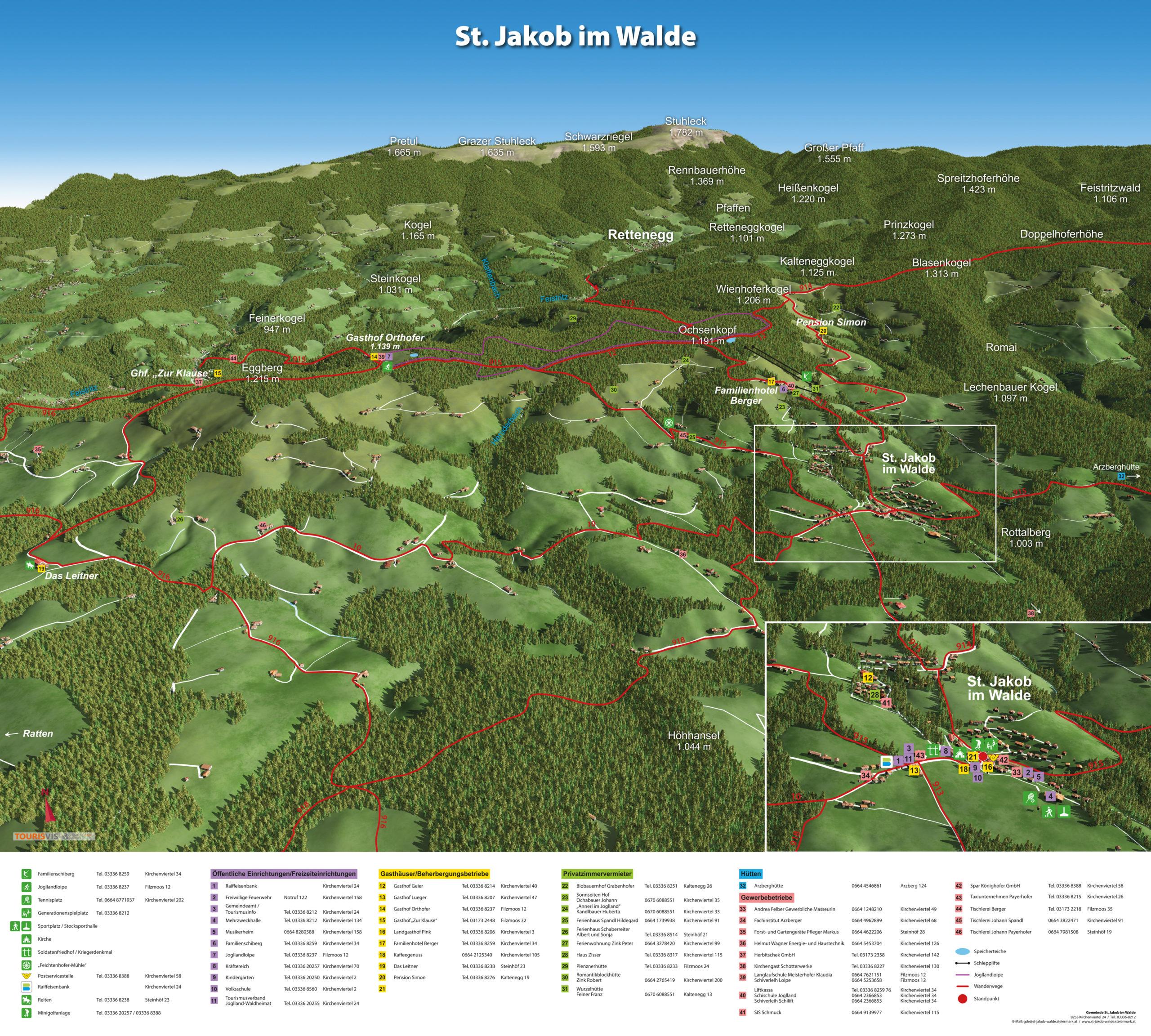 3D Panoramakarte Wandern Sankt Jakob im Walde