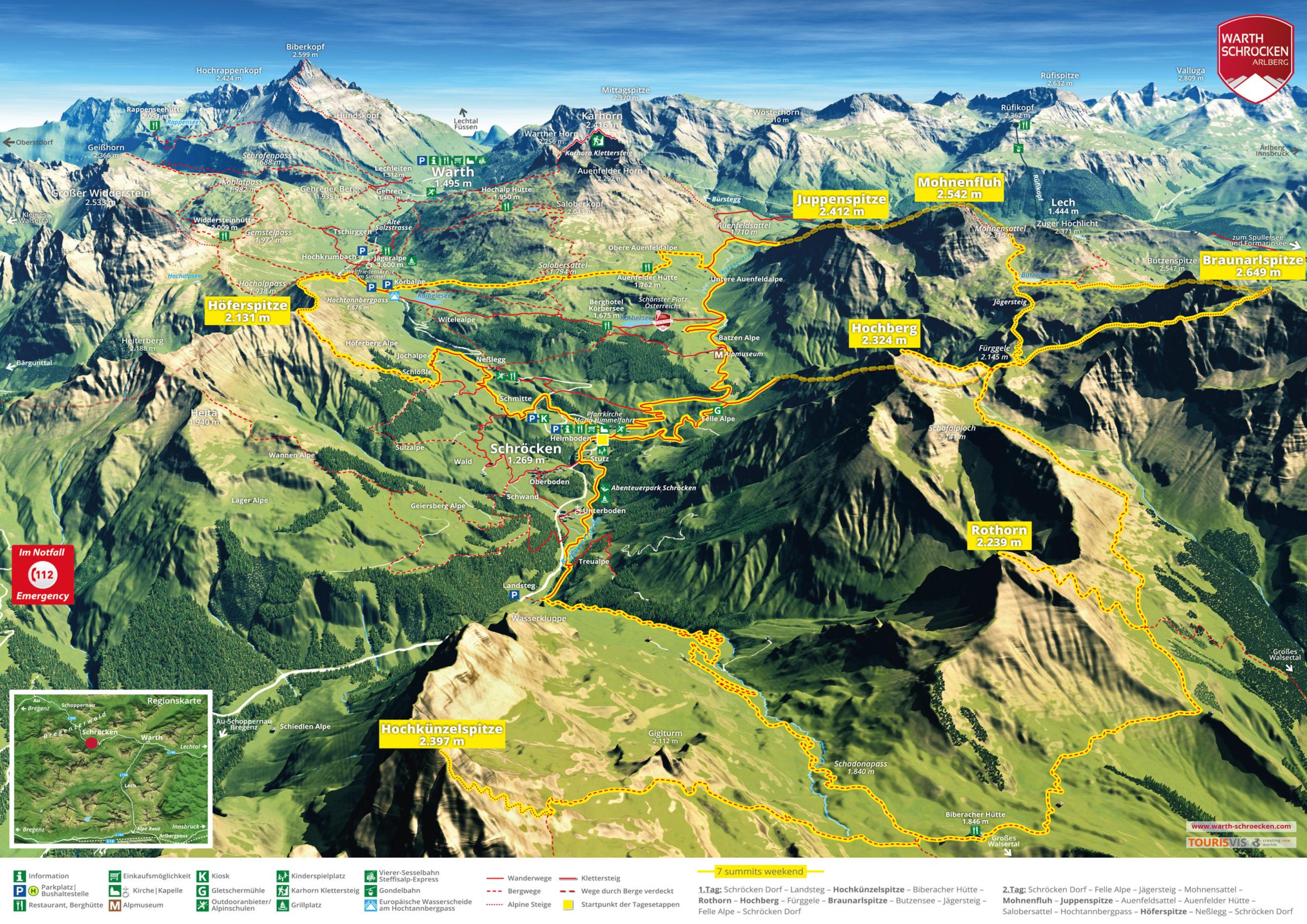 3D Panoramakarte Wandern Warth Schroecken Seven summits weekend
