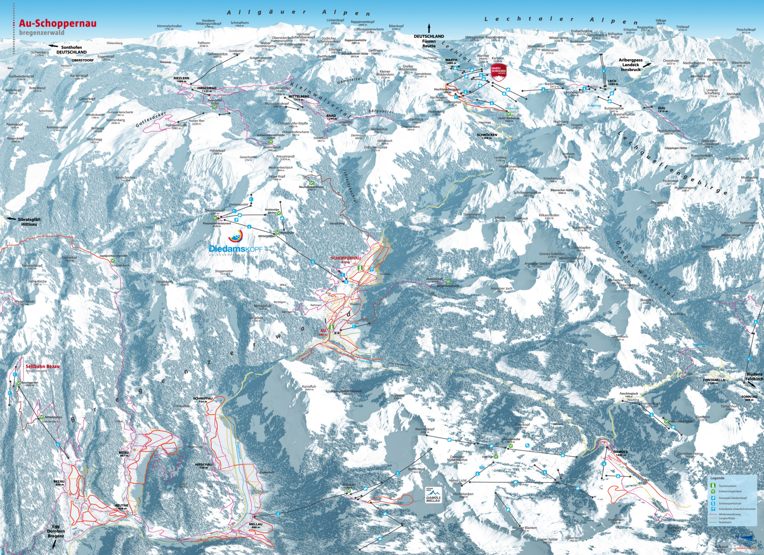 3D Panoramakarte Winter Au-Schoppernau