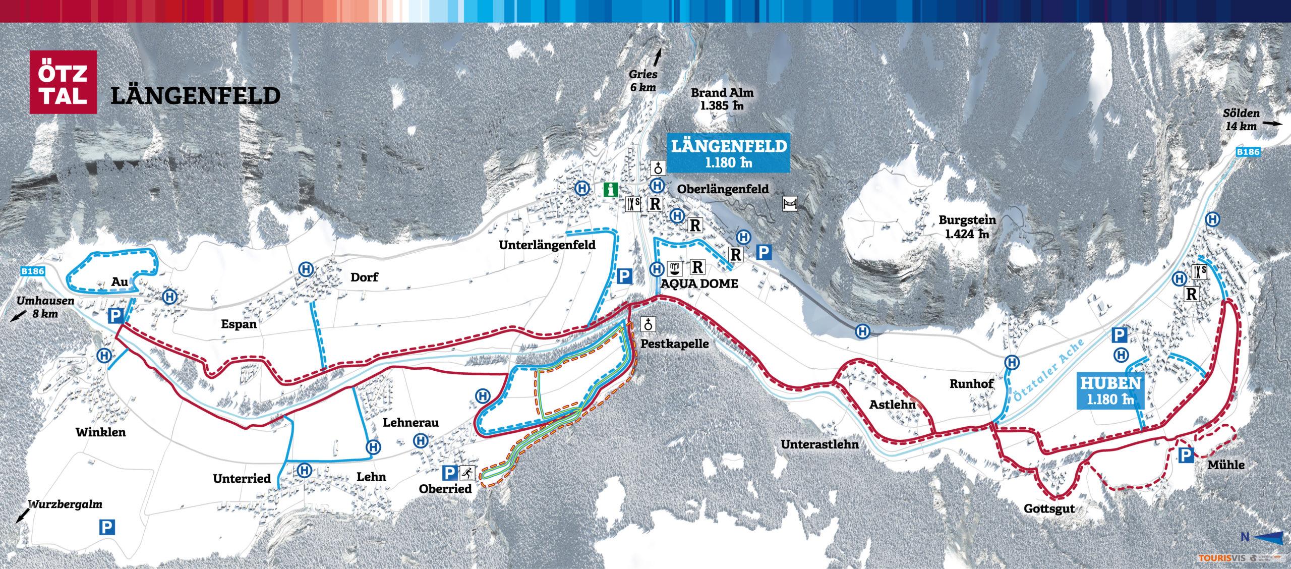 3D Panoramakarte Winter Langlaufen Laengenfeld Oetztal