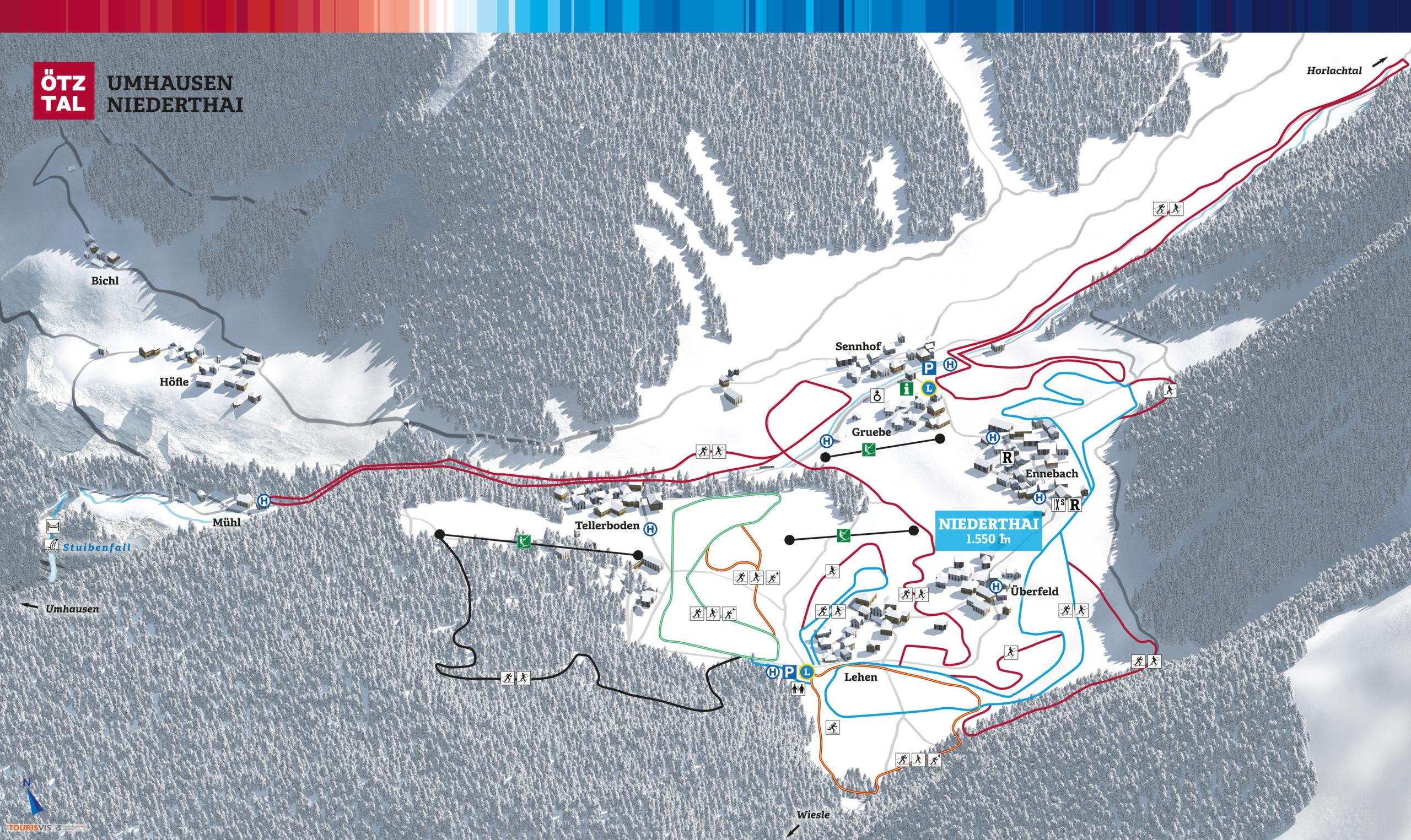 3D Panoramakarte Winter Langlaufen Niederthai Oetztal