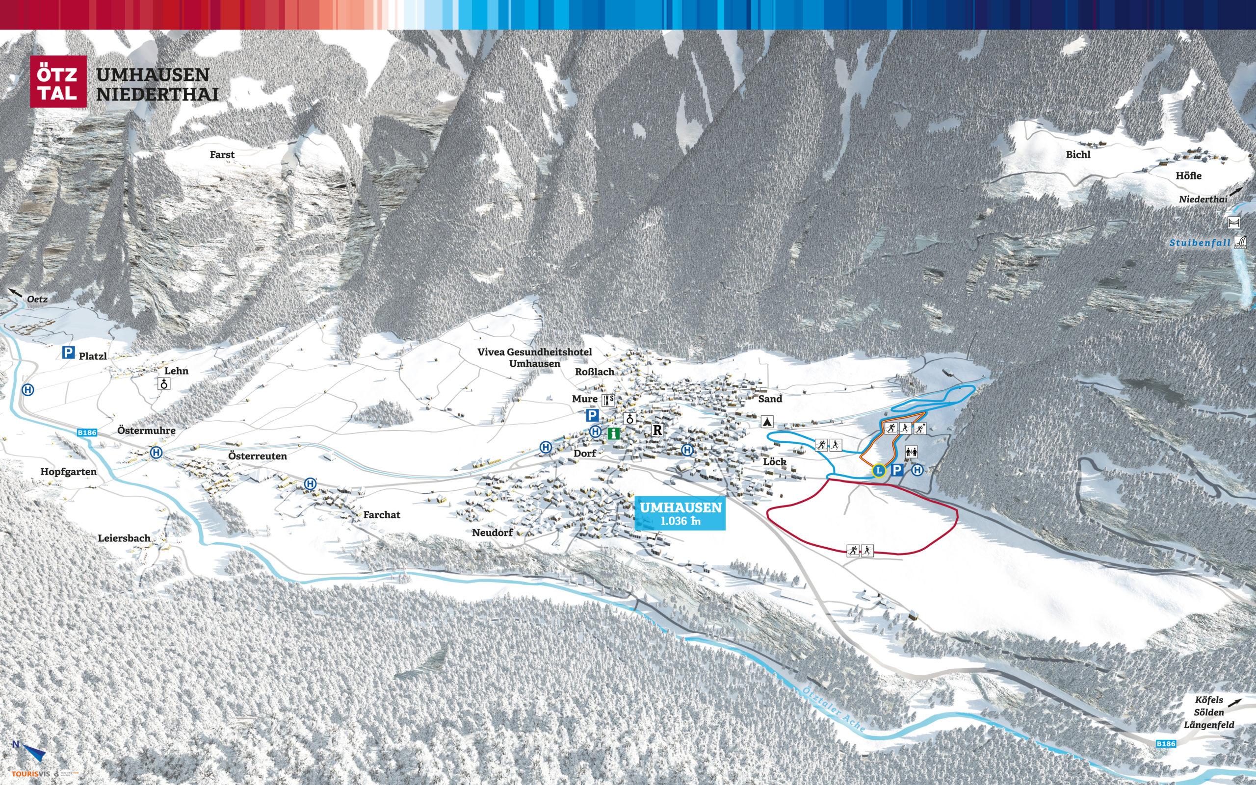 3D Panoramakarte Winter Langlaufen Umhausen Oetztal
