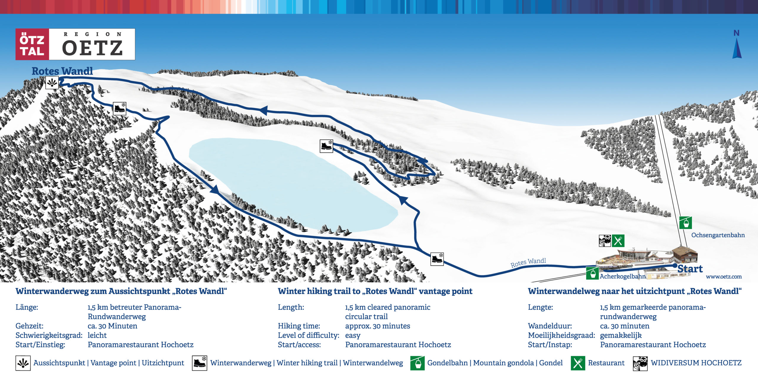 3D Panoramakarte Winter wandern Rotes Wandl Oetztal