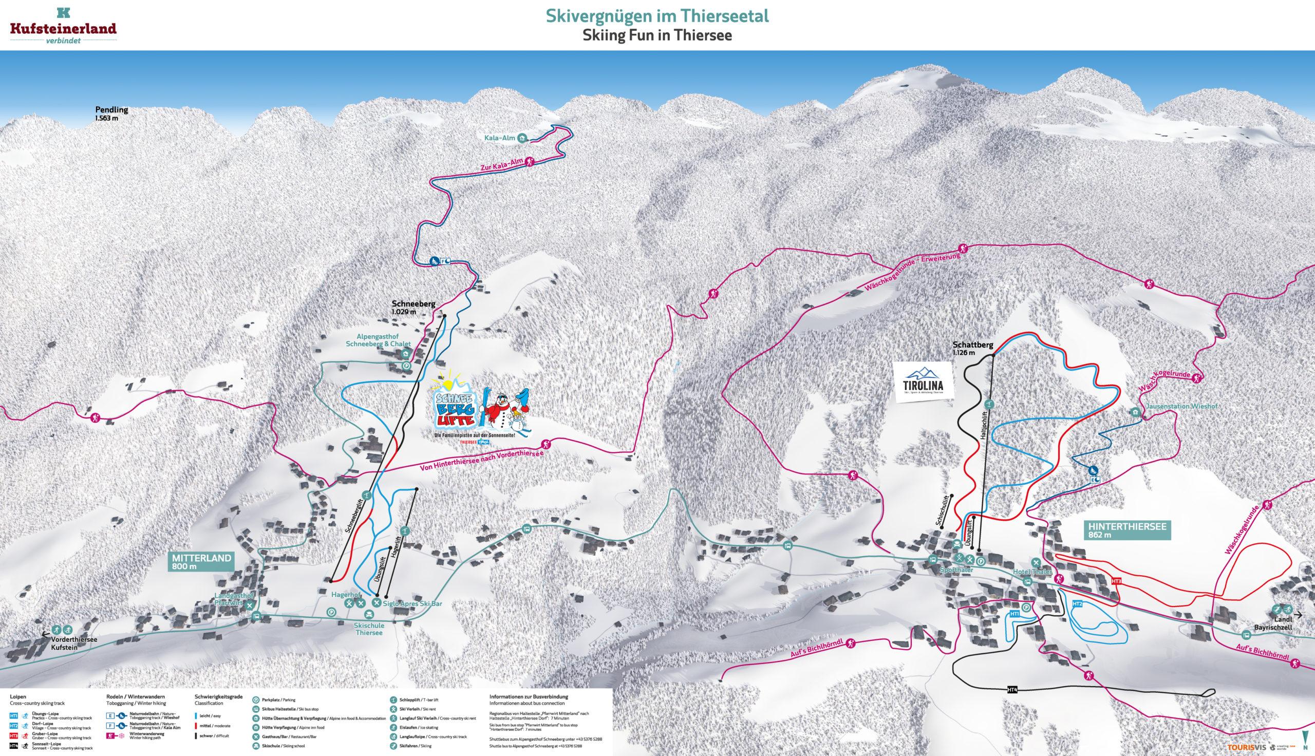 3D Pistenplan und Panoramakarte Winter Kufsteinerland Ski Tirolina Schneeberg-Hagerlifte