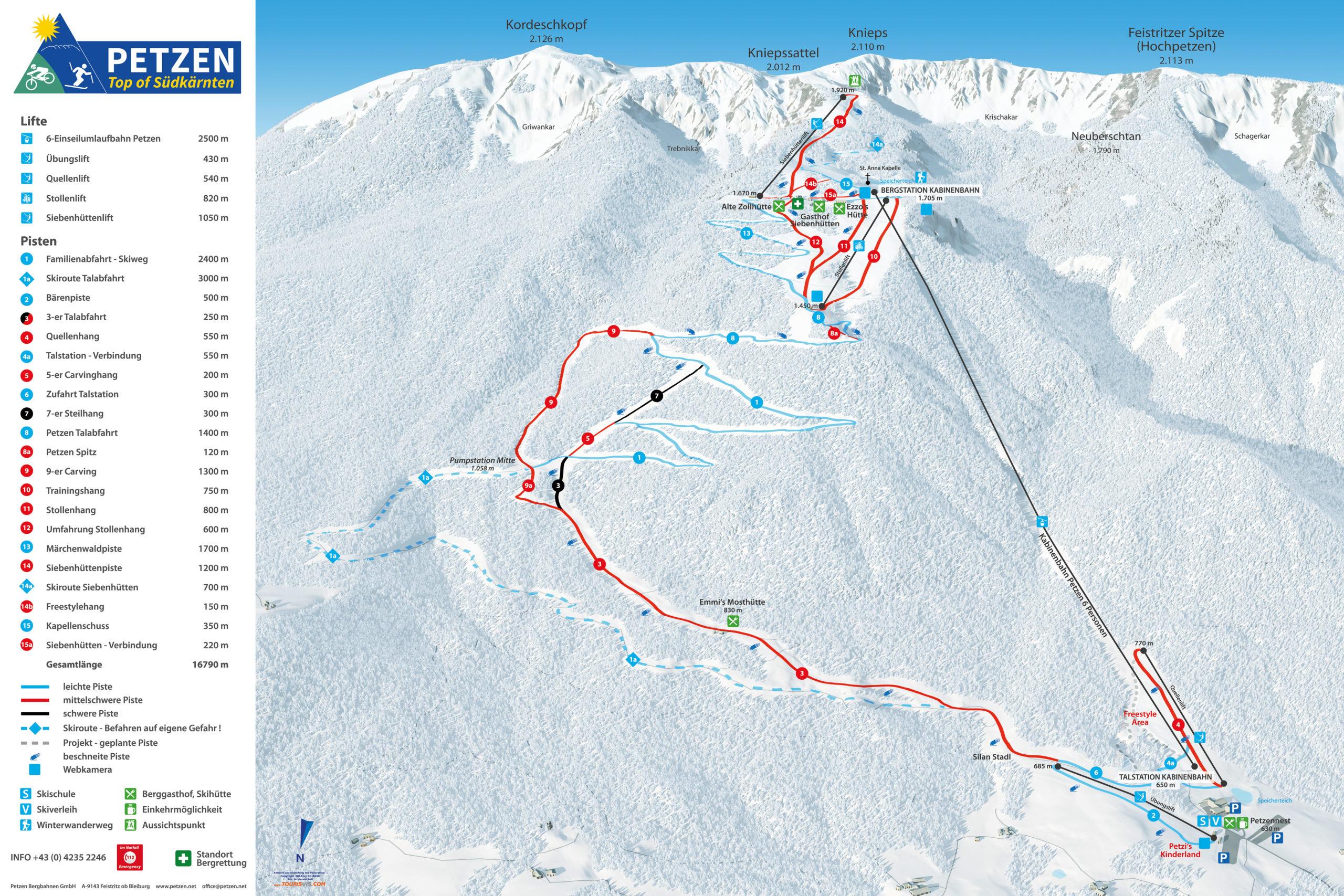 3D Pistenplan und Panoramakarte Winterpanorama Petzen Suedkaernten