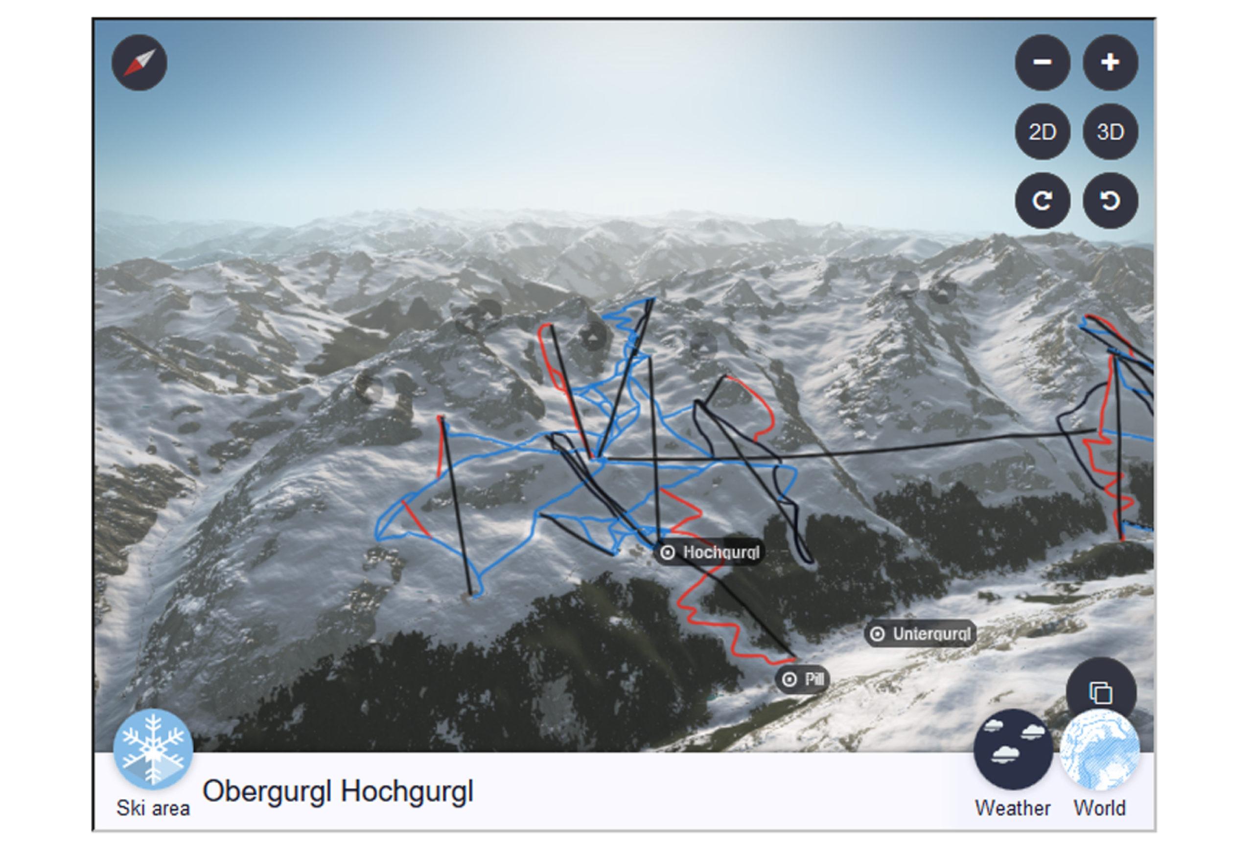 3D Webkarten panoExplore virtuelle Skiabfahrt Pistenplan