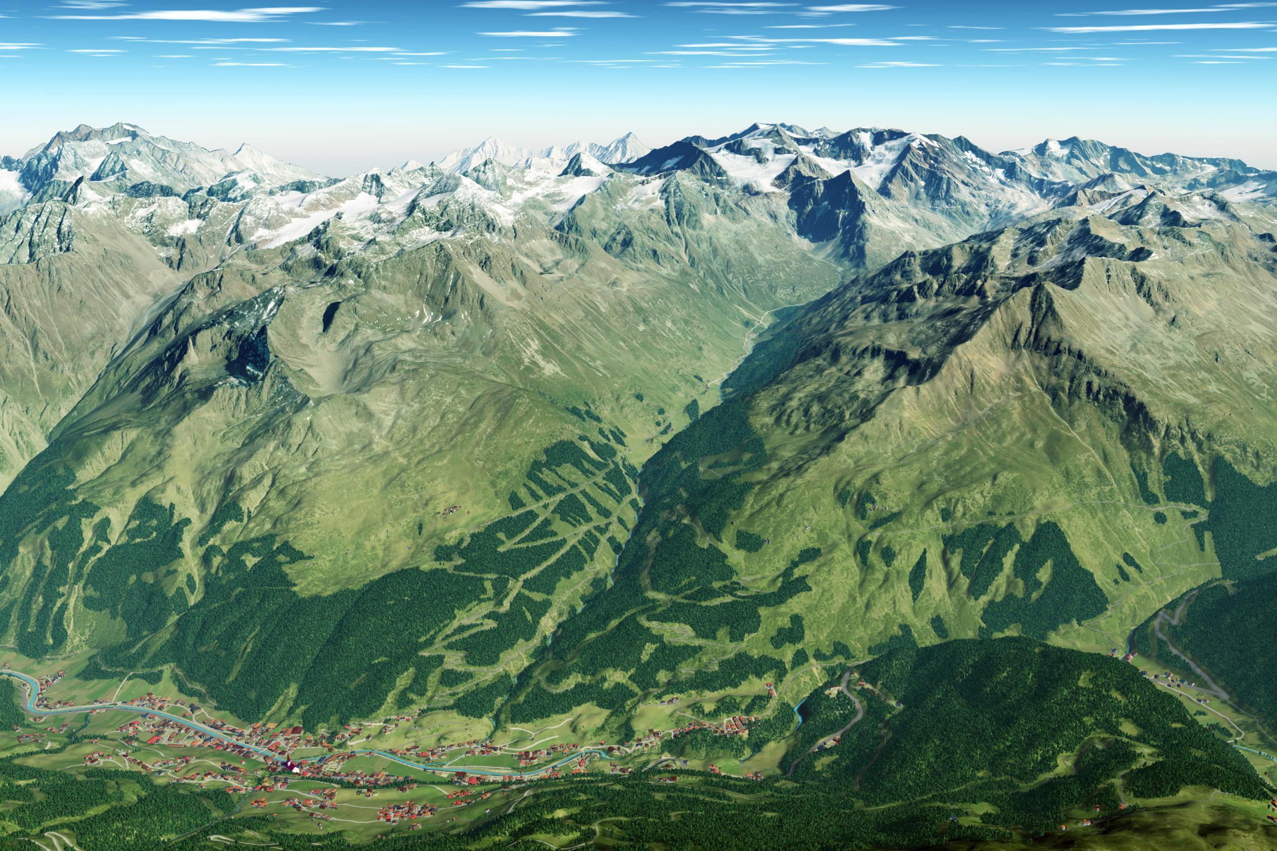 3D Panoramakarte Almzeit Sommer