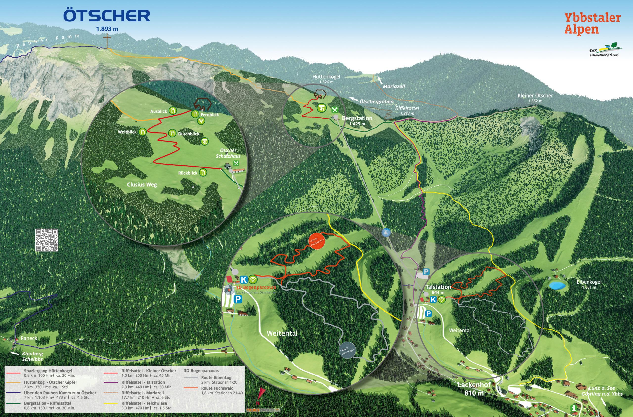 3D Panoramakarte Bogenparcours Wandern Oetscher Lackenhof Ybbstaler Alpen