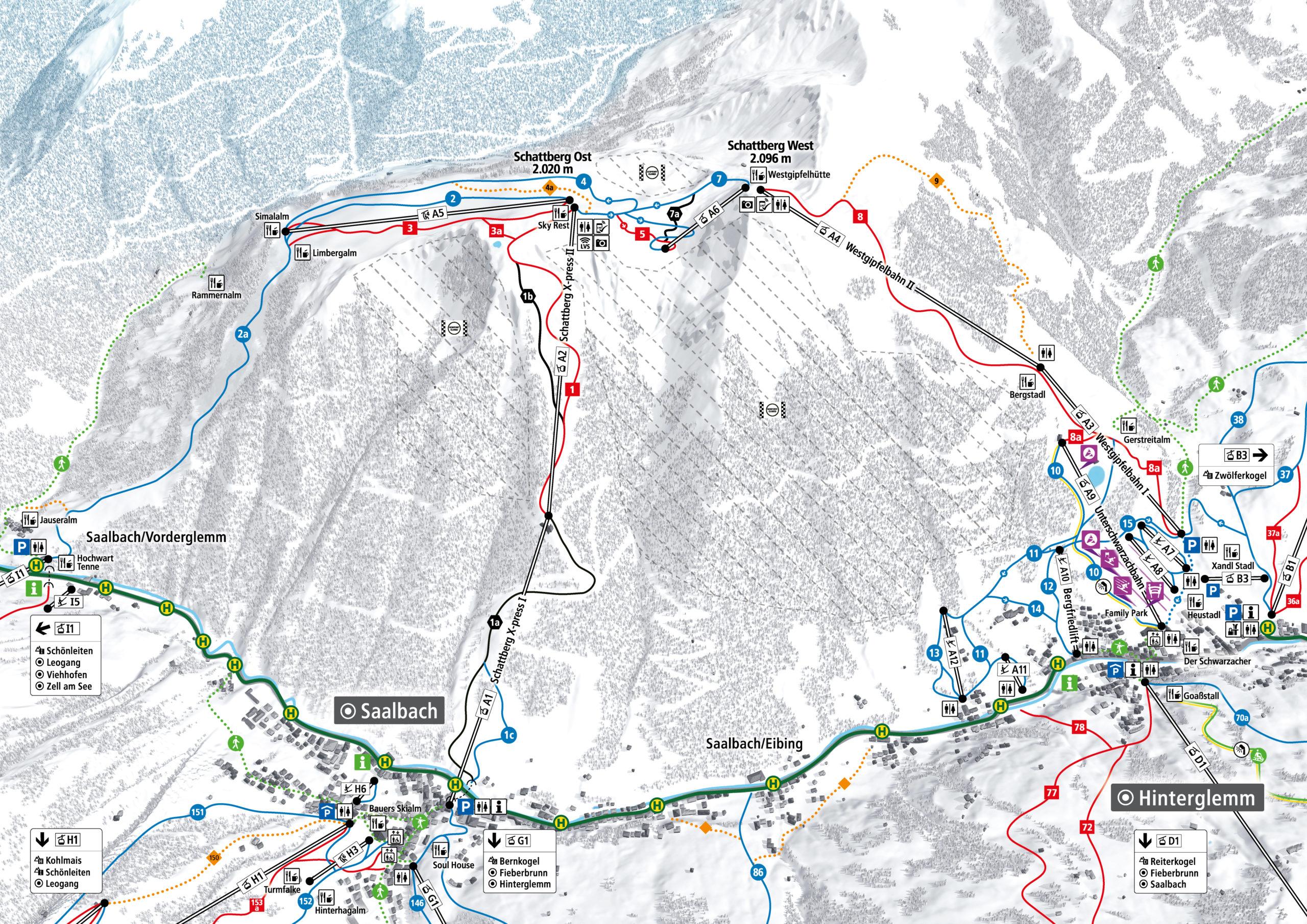 3D Pistenplan und Panoramakarte Skicircus Saalbach Hinterglemm Leogang Fieberbrunn Zone A Schattberg