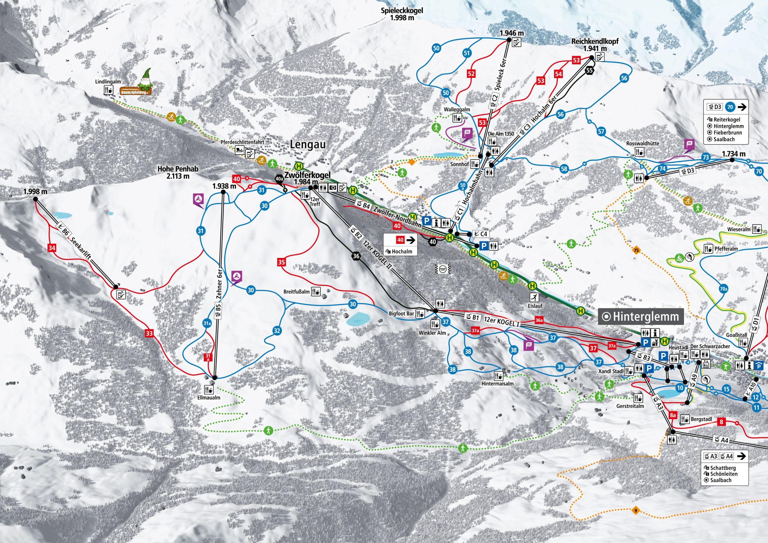 3D Pistenplan und Panoramakarte Skicircus Saalbach Hinterglemm Leogang Fieberbrunn Zone B Zwoelferkogel