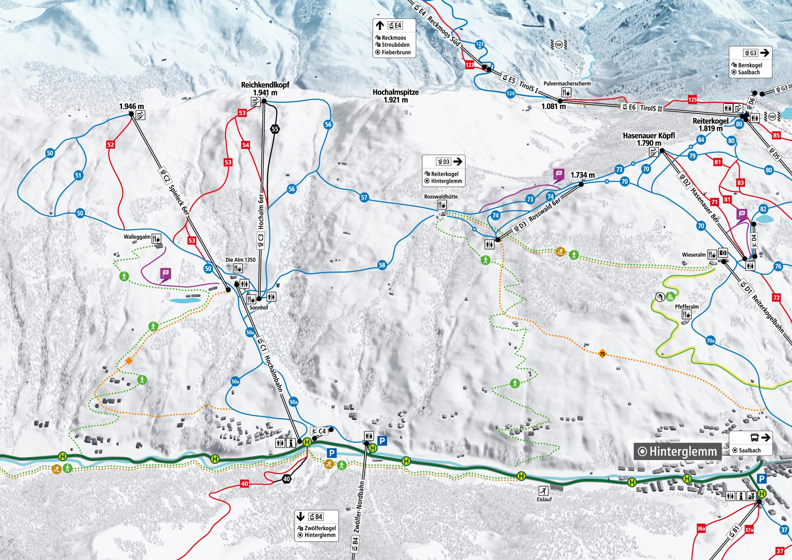 3D Pistenplan und Panoramakarte Skicircus Saalbach Hinterglemm Leogang Fieberbrunn Zone C Hochalm