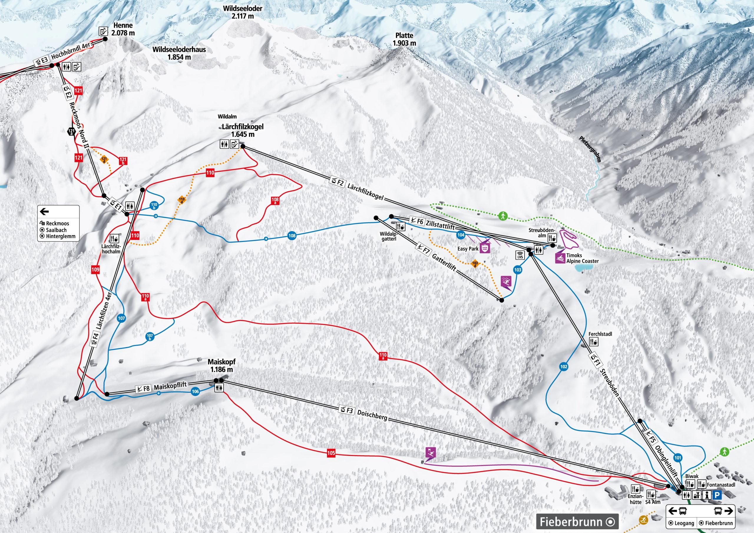 3D Pistenplan und Panoramakarte Skicircus Saalbach Hinterglemm Leogang Fieberbrunn Zone F Streuboeden