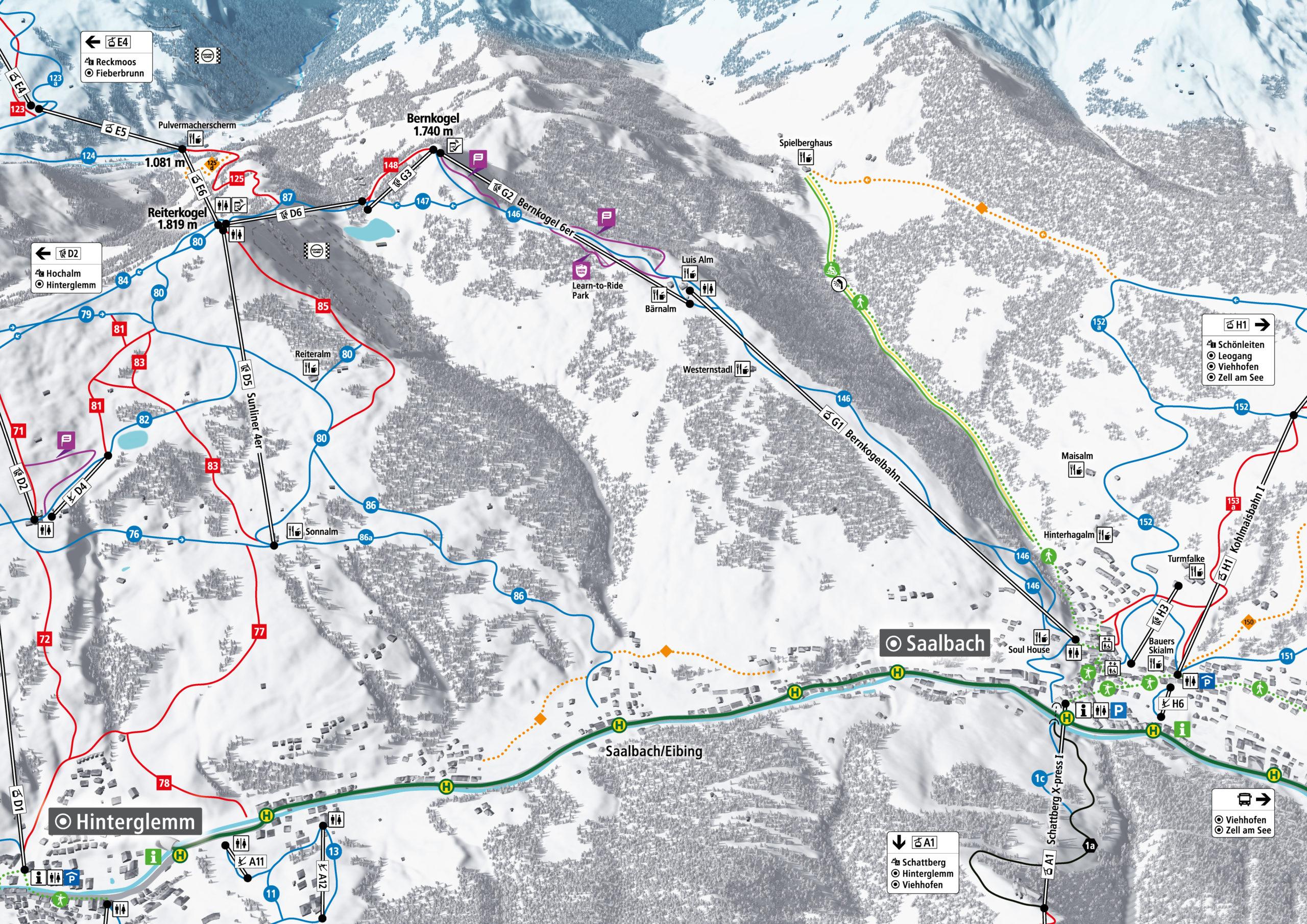 3D Pistenplan und Panoramakarte Skicircus Saalbach Hinterglemm Leogang Fieberbrunn Zone G Bernkogel