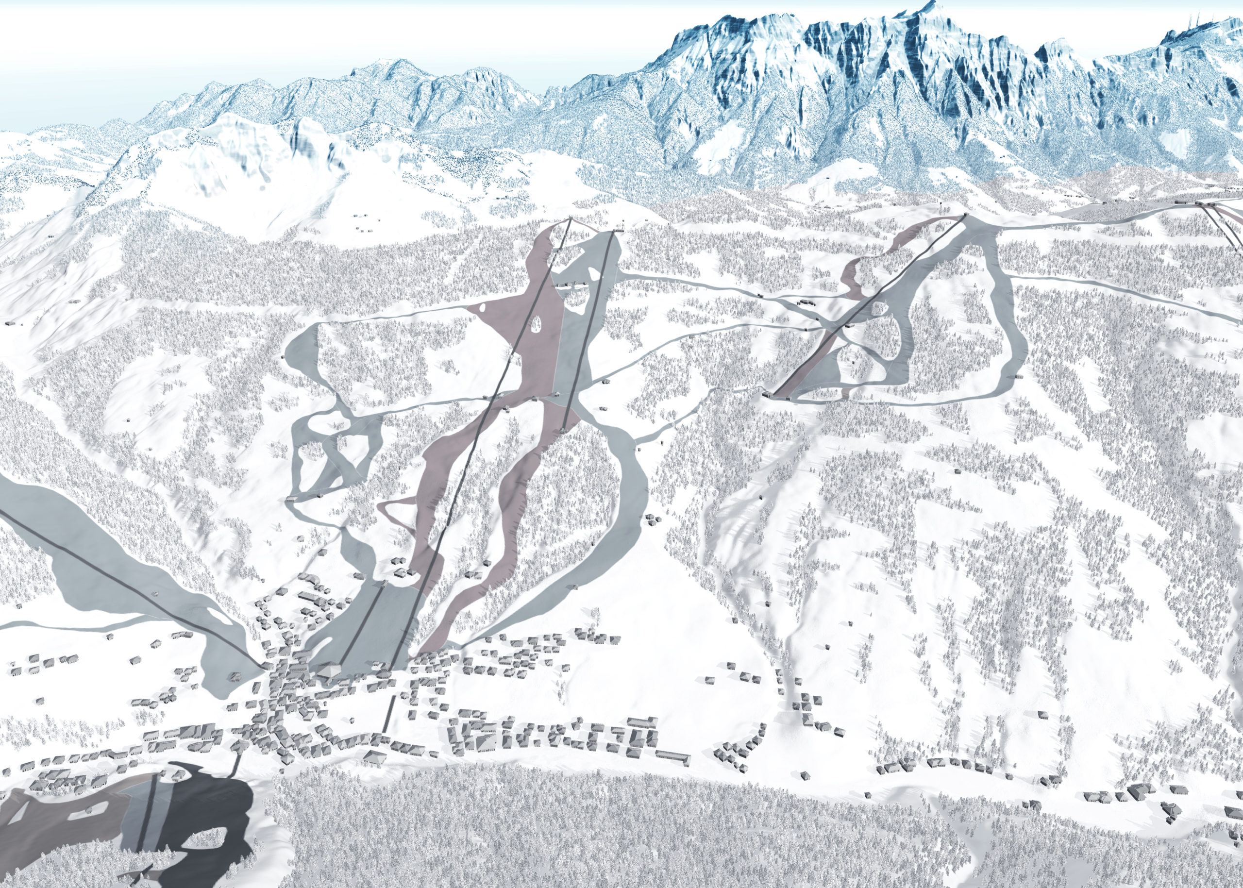 3D Panoramakarte Skicircus Saalbach Hinterglemm Leogang Fieberbrunn Zone H Kohlmais Korrektur