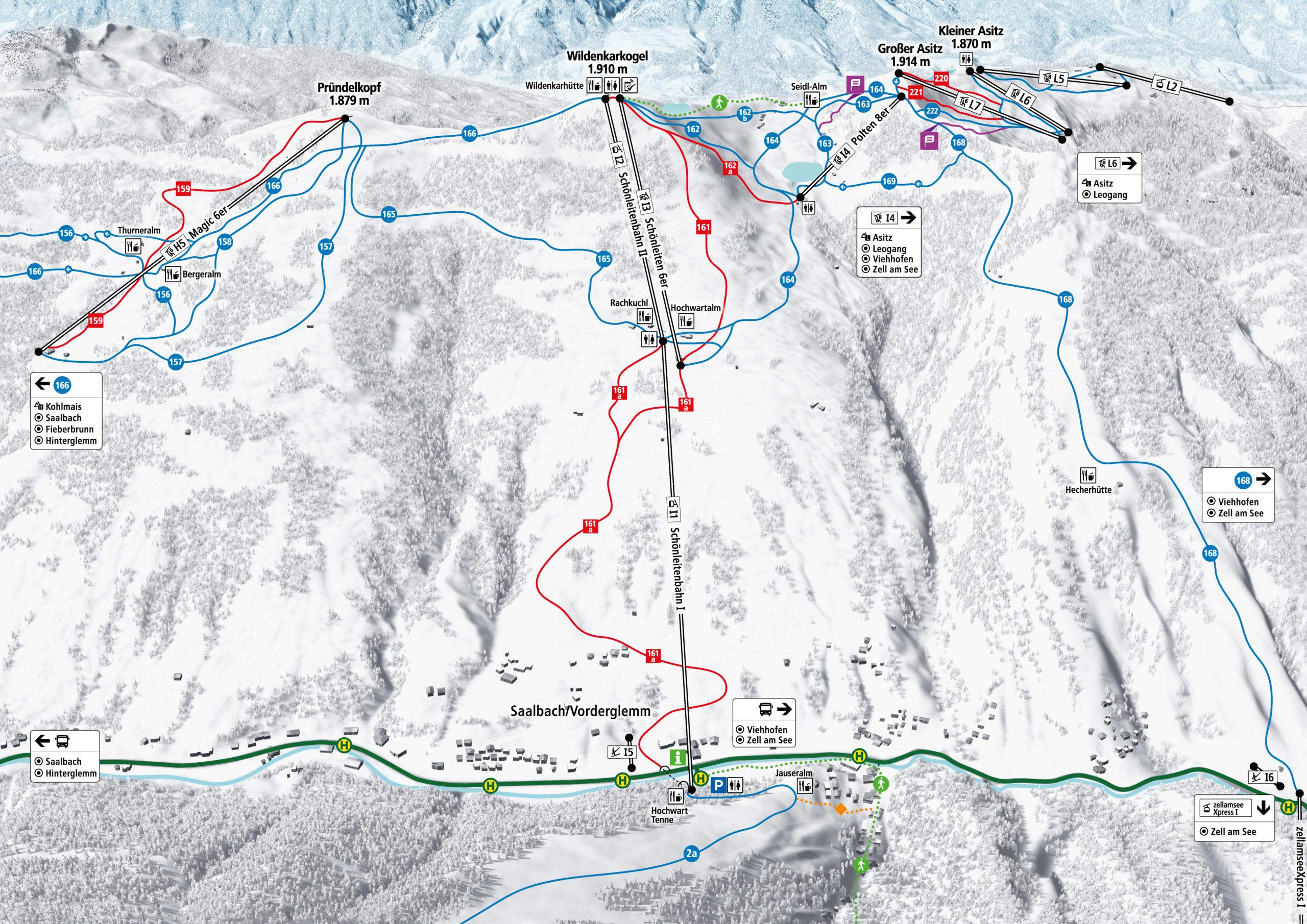 3D Pistenplan und Panoramakarte Skicircus Saalbach Hinterglemm Leogang Fieberbrunn Zone I Schoenleiten