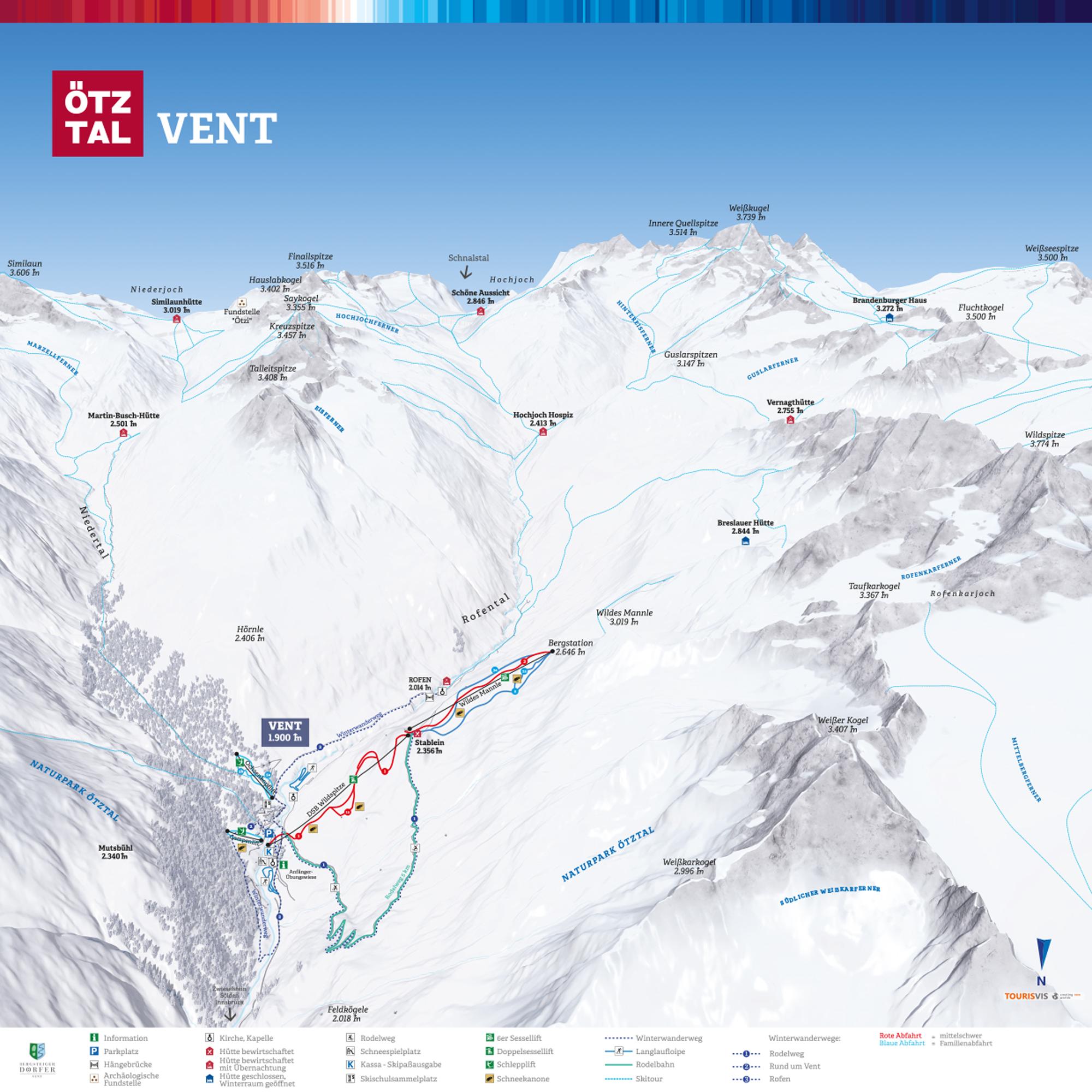 3D Panoramakarte Winterpanorama Vent Oetztal