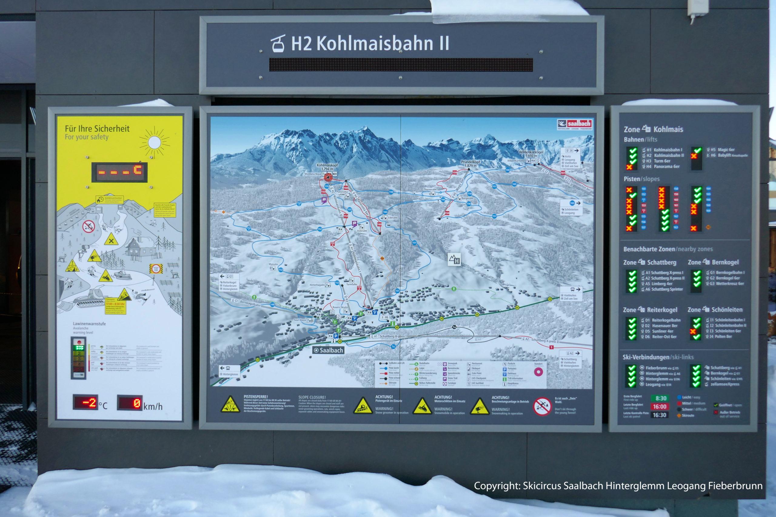 Pistenleitsystem Saalbach Hinterglemm Leogang Fieberbrunn Zone H Kohlmais