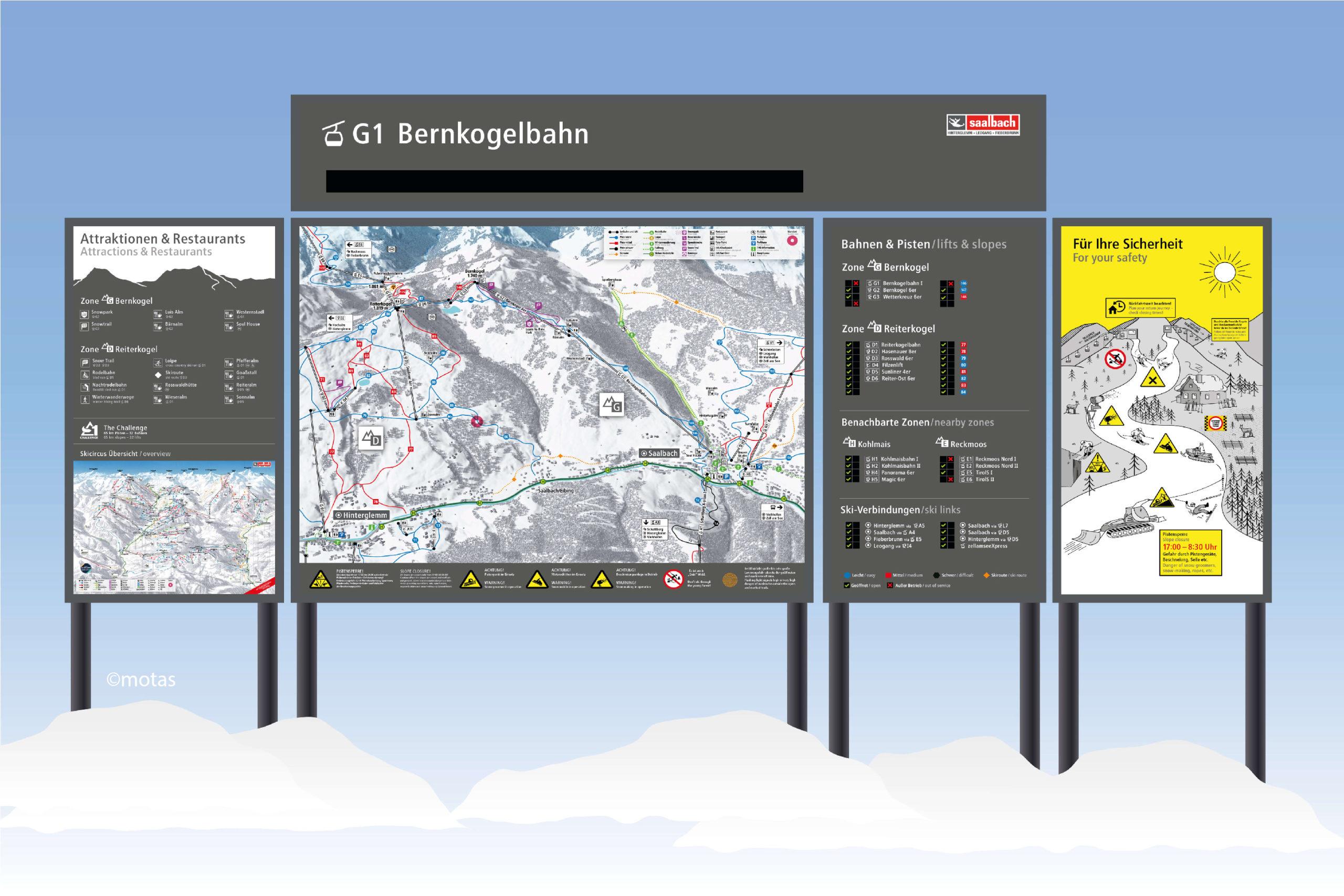 Pistenleitsystem Skicircus Saalbach Hinterglemm Leogang Fieberbrunn Zone G Bernkogel