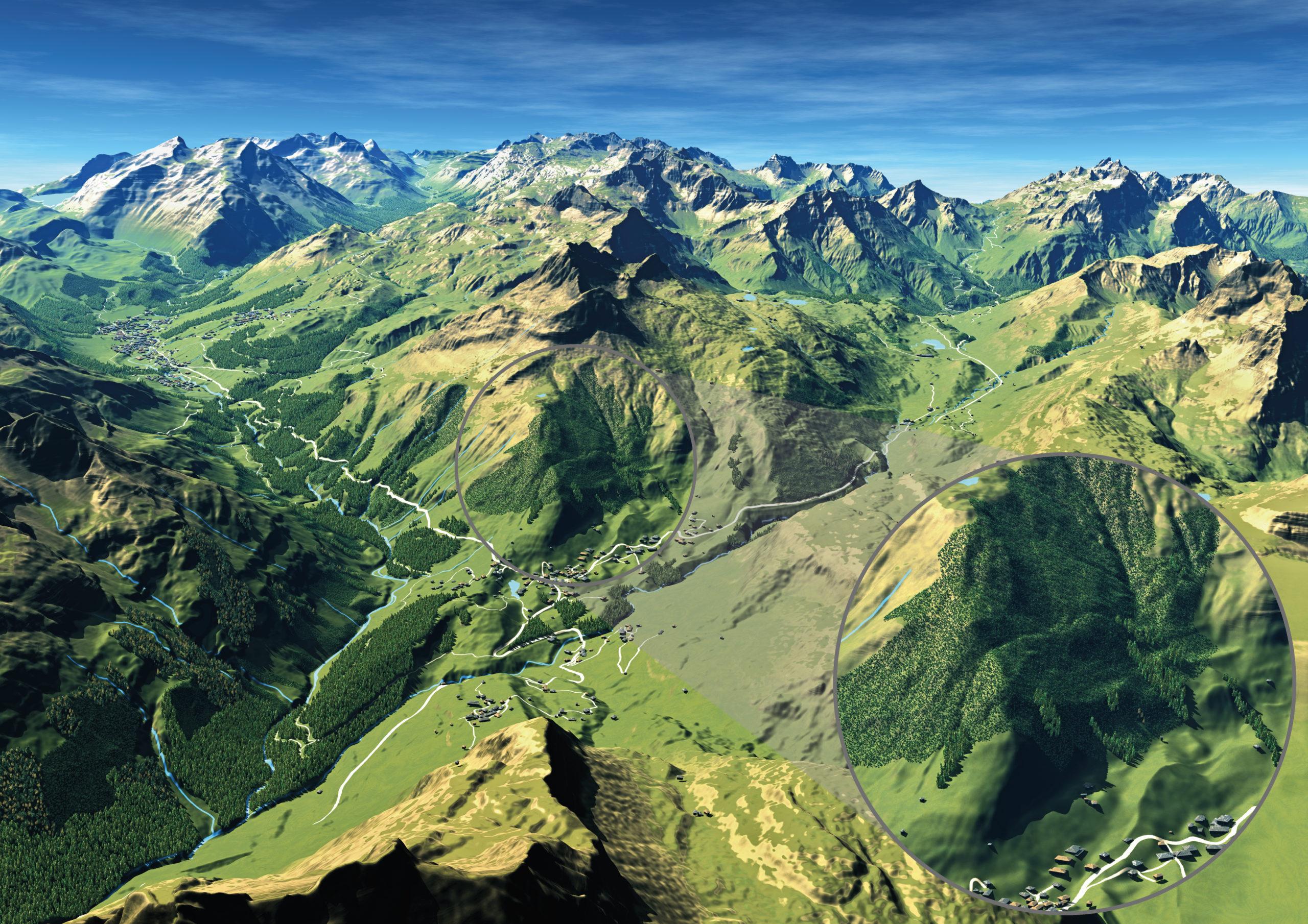 3D Panoramakarte 3D Panorama wandern Warth Latschen Wald Haeuser