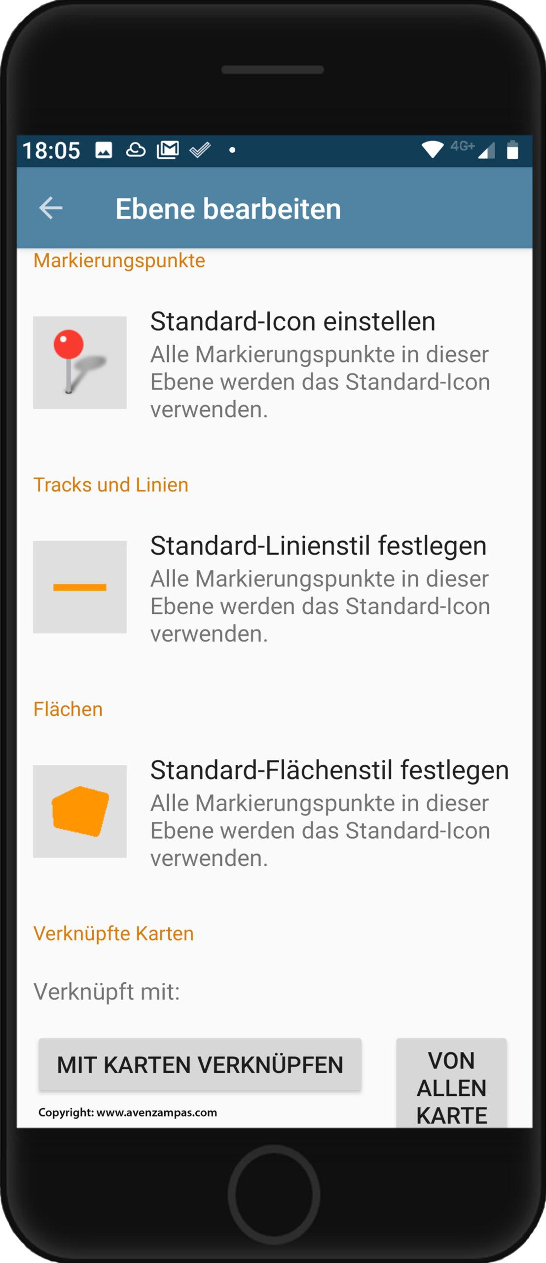 Grundkarte panoMap Smartphone Avenzamaps Ebene Copyright