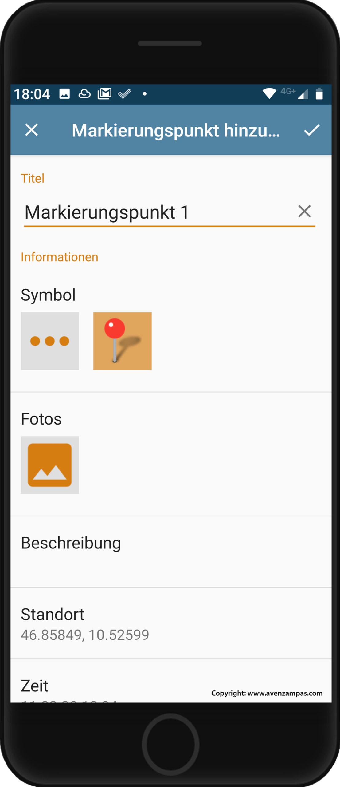 Grundkarte panoMap Smartphone Avenzamaps Markierungspunkt Copyright