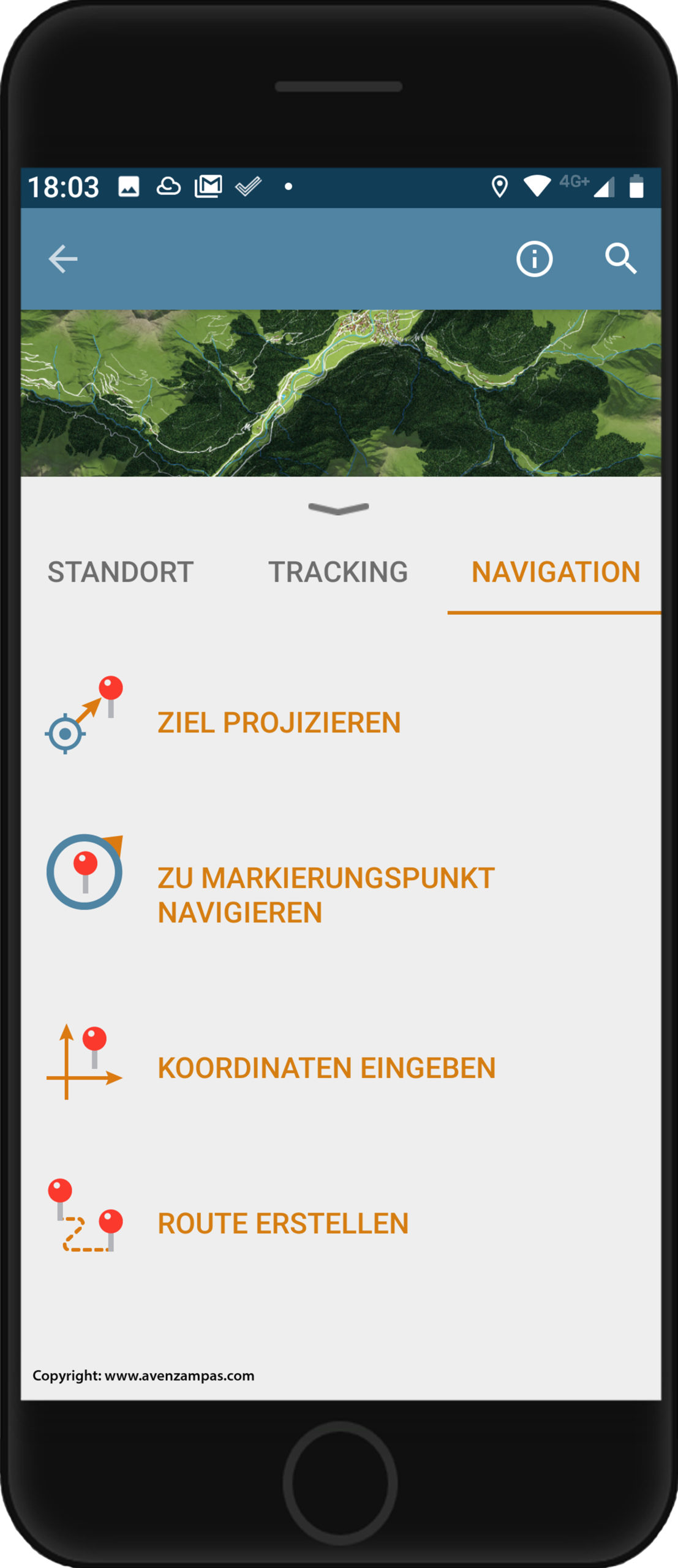 Grundkarte panoMap Smartphone Avenzamaps Navigation Copyright