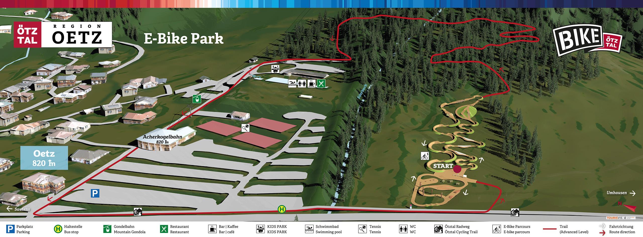 3D Panoramakarte - Bikekarte E Bike Parcours Oetz