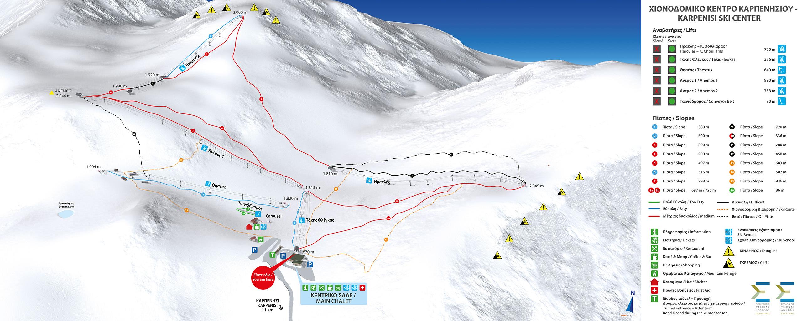 3D Pistenplan und Panoramakarte Karpenisi Skicenter Griechenland