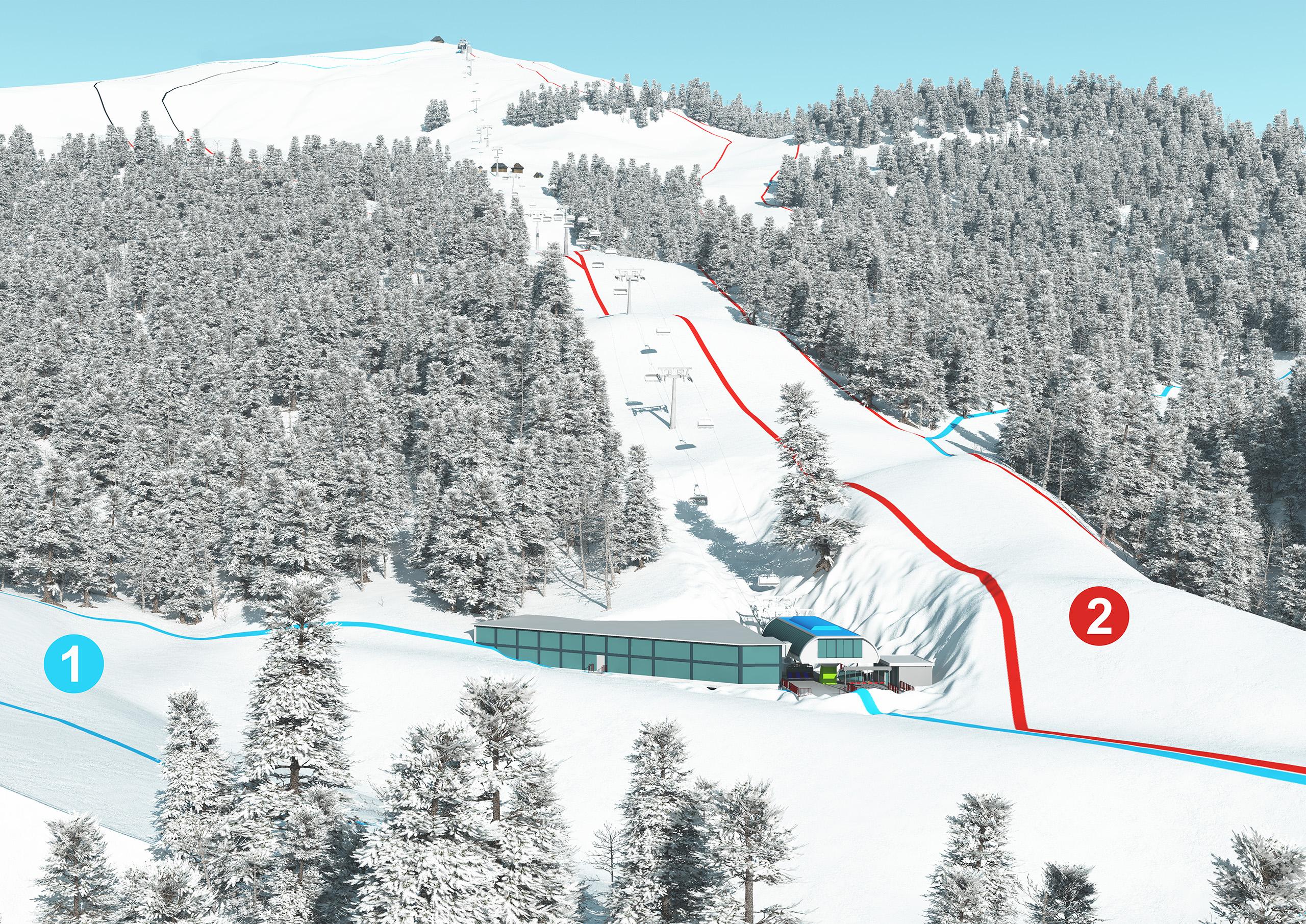 3D Pistenplan und Panoramakarten Talstation