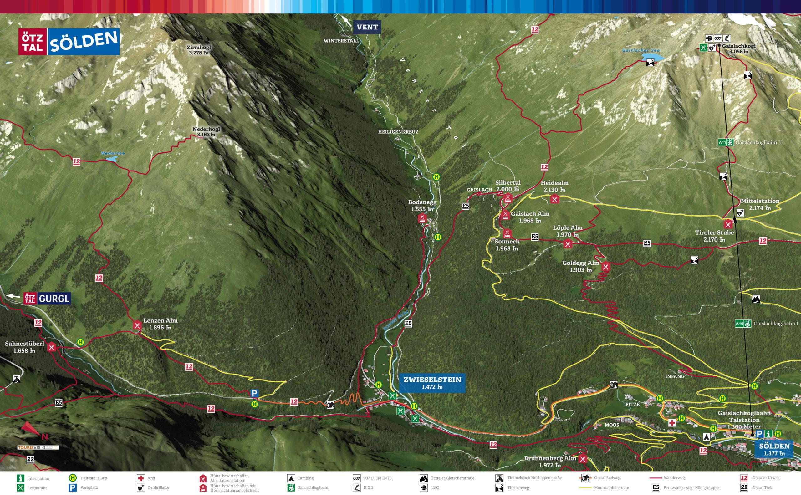 3D Panoramakarte Zwieselstein - Laute Seite - Wandern/MTB Ötztal