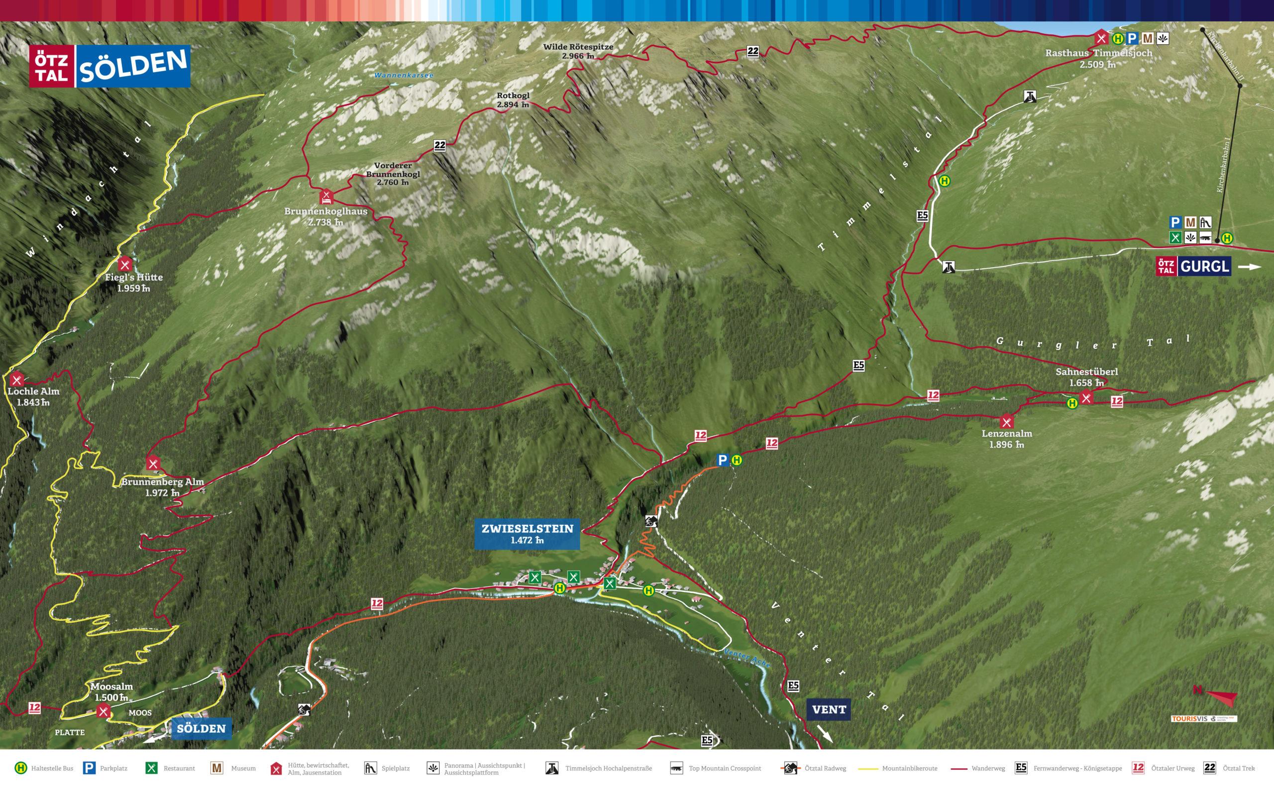 3D Panoramakarte Zwieselstein - Stille Seite - Wandern/MTB Ötztal