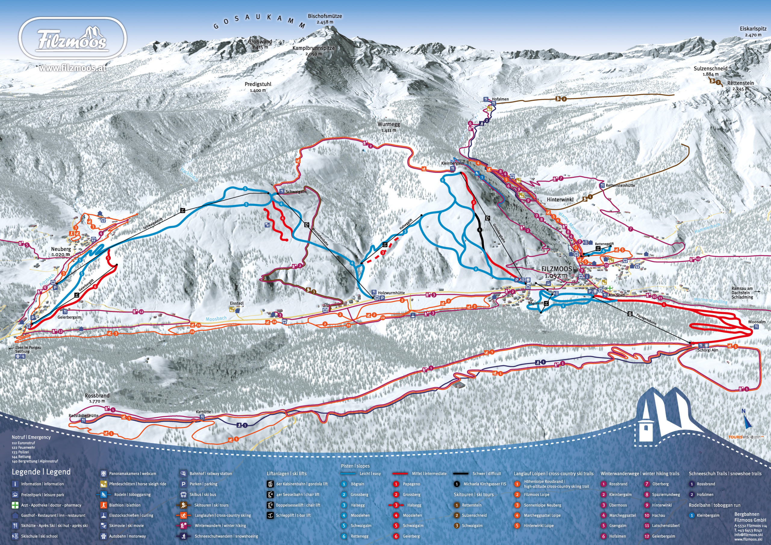 3D Winterpanorama Filzmoos Bergbahnen